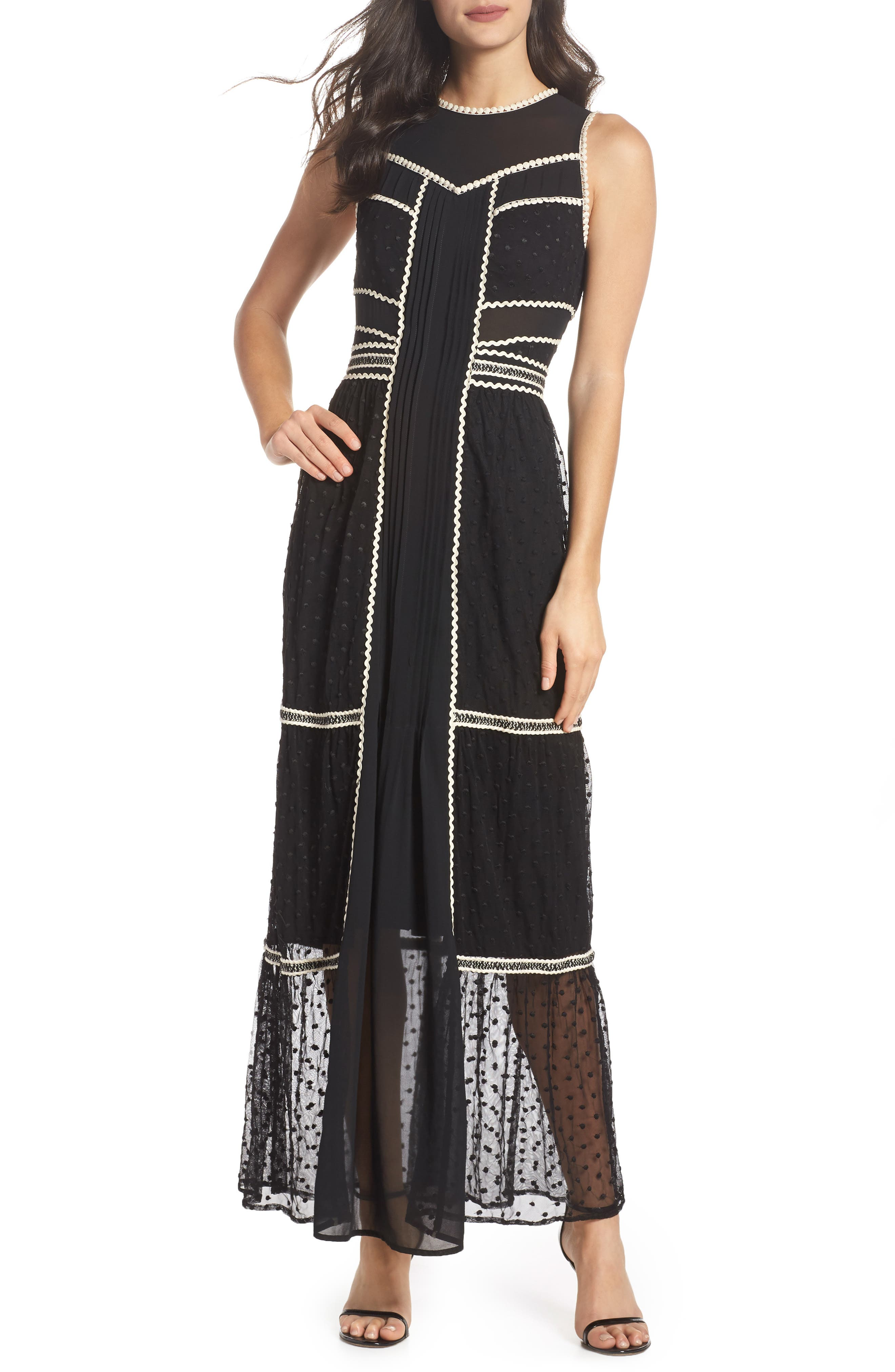 Embroidered Dot Gown,                             Main thumbnail 1, color,                             BLACK/ IVORY