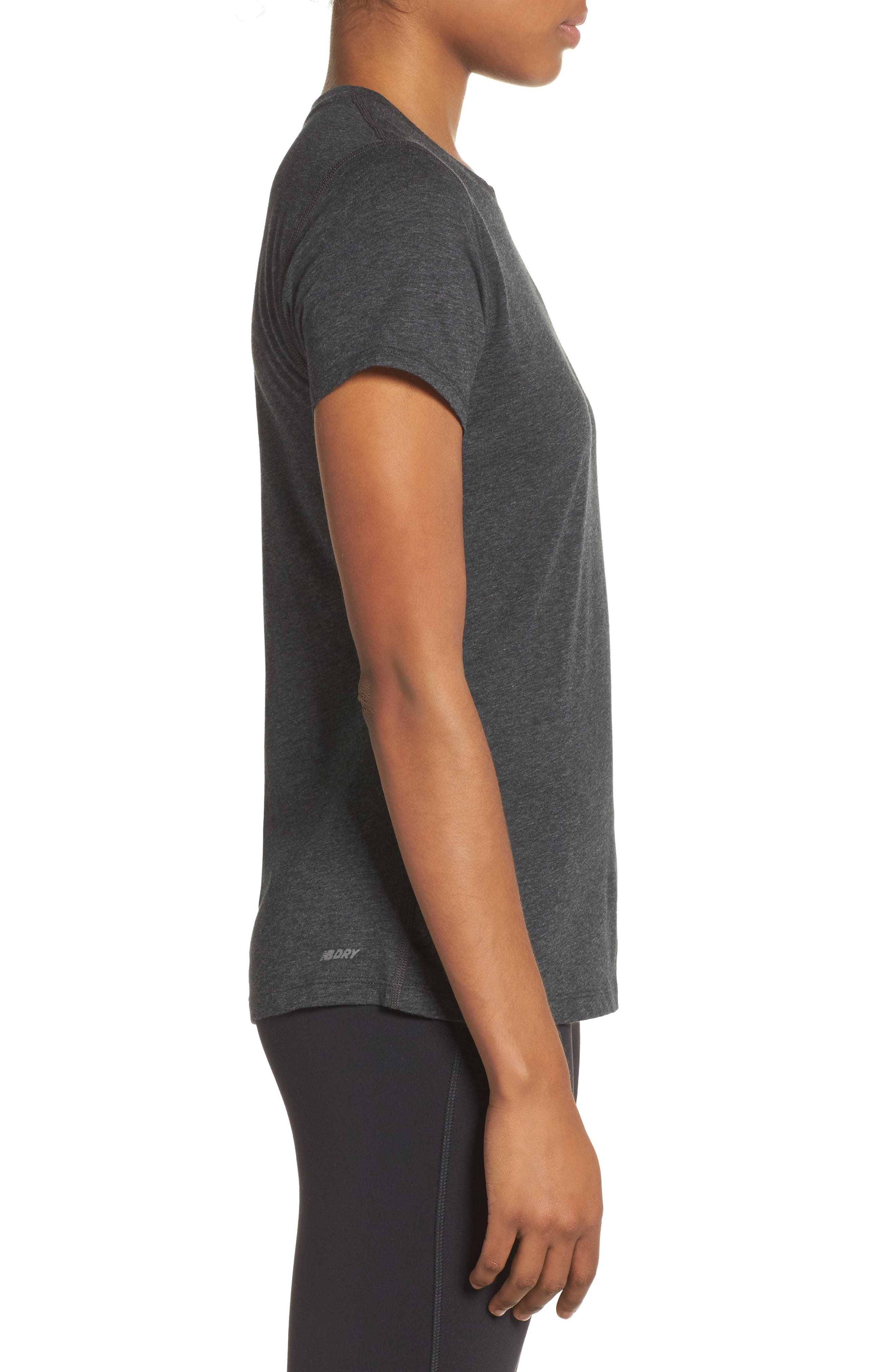 NEW BALANCE,                             Heather Tech Tee,                             Alternate thumbnail 3, color,                             001