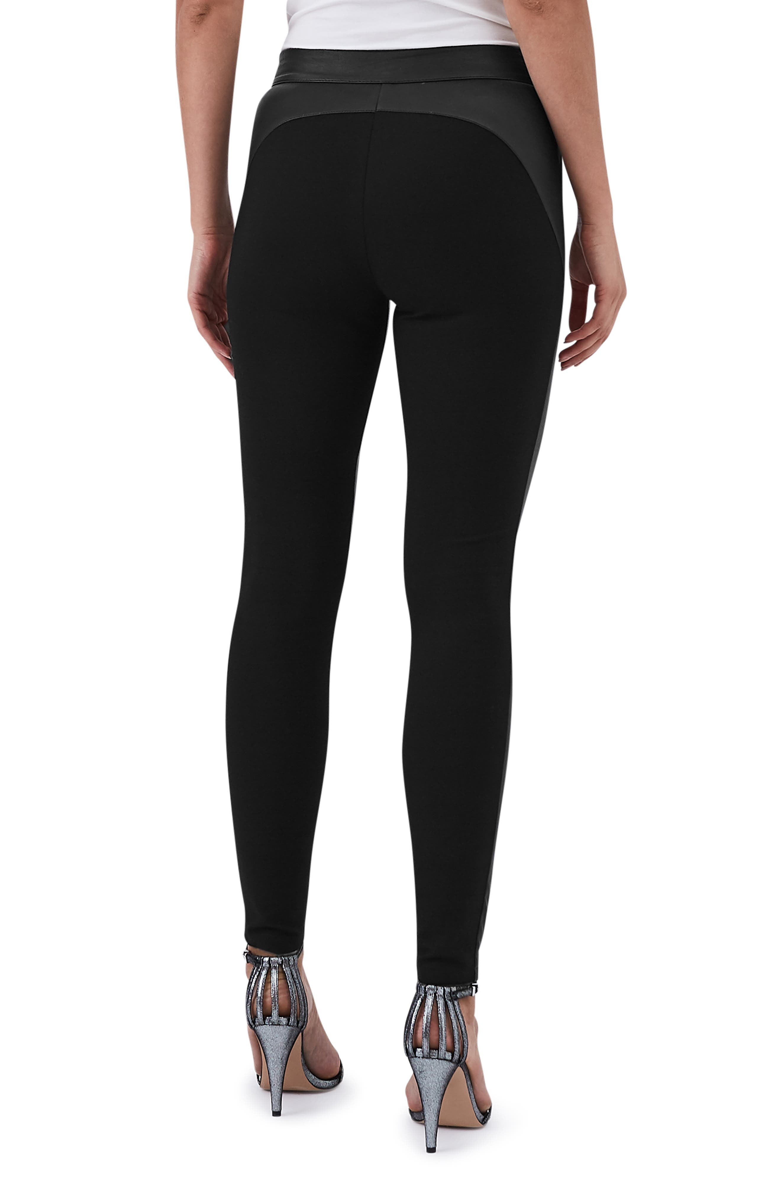 Valerie Mix Media Leather Leggings,                             Alternate thumbnail 2, color,                             BLACK