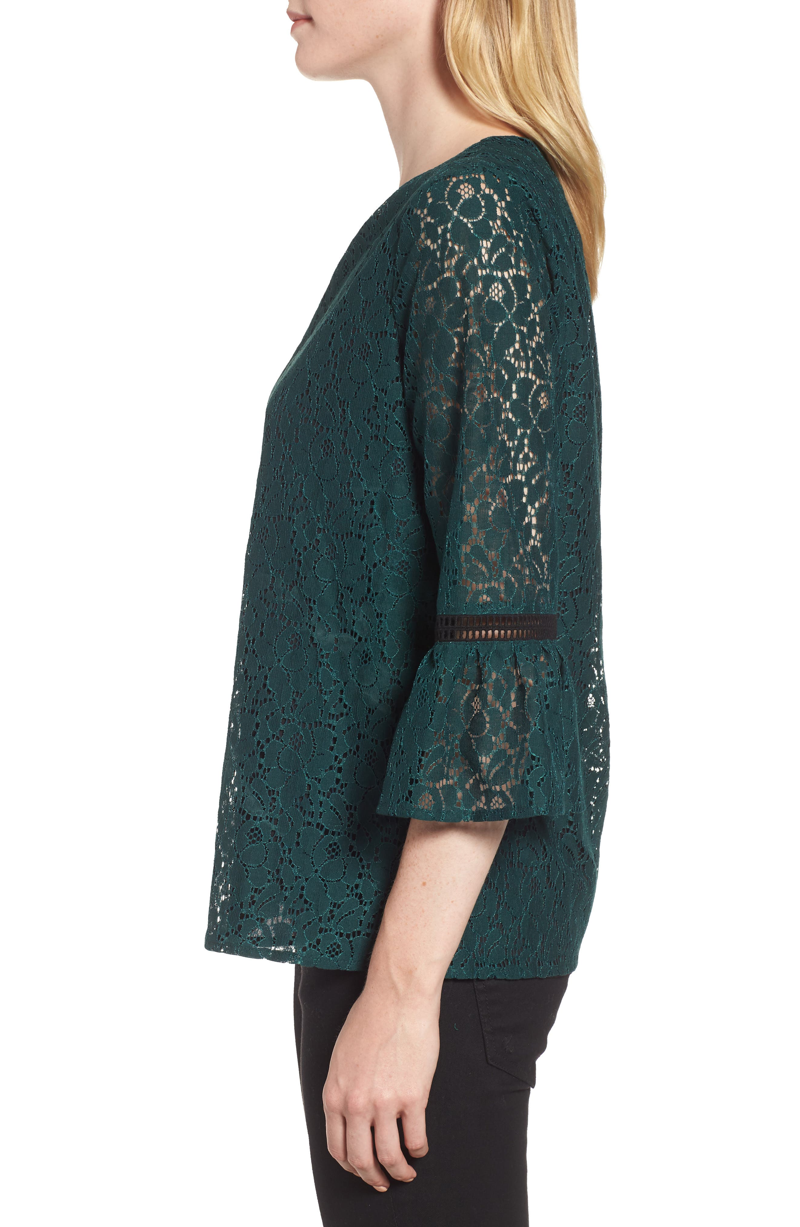 x Glam Squad Erin Allover Lace Bell Sleeve Top,                             Alternate thumbnail 4, color,                             GREEN