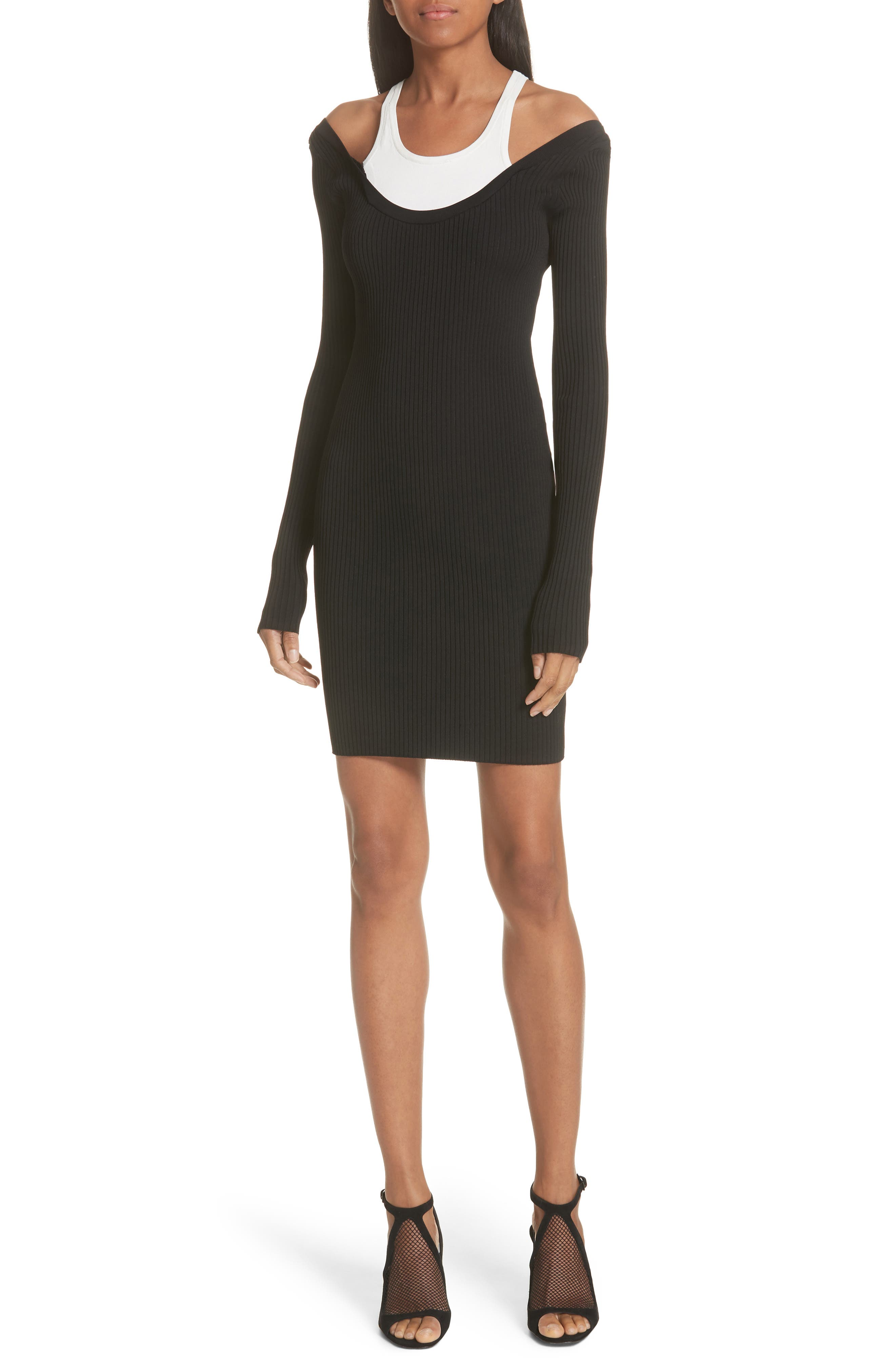 Alexander Wang.t Layered Racerback Sweater Dress, Black