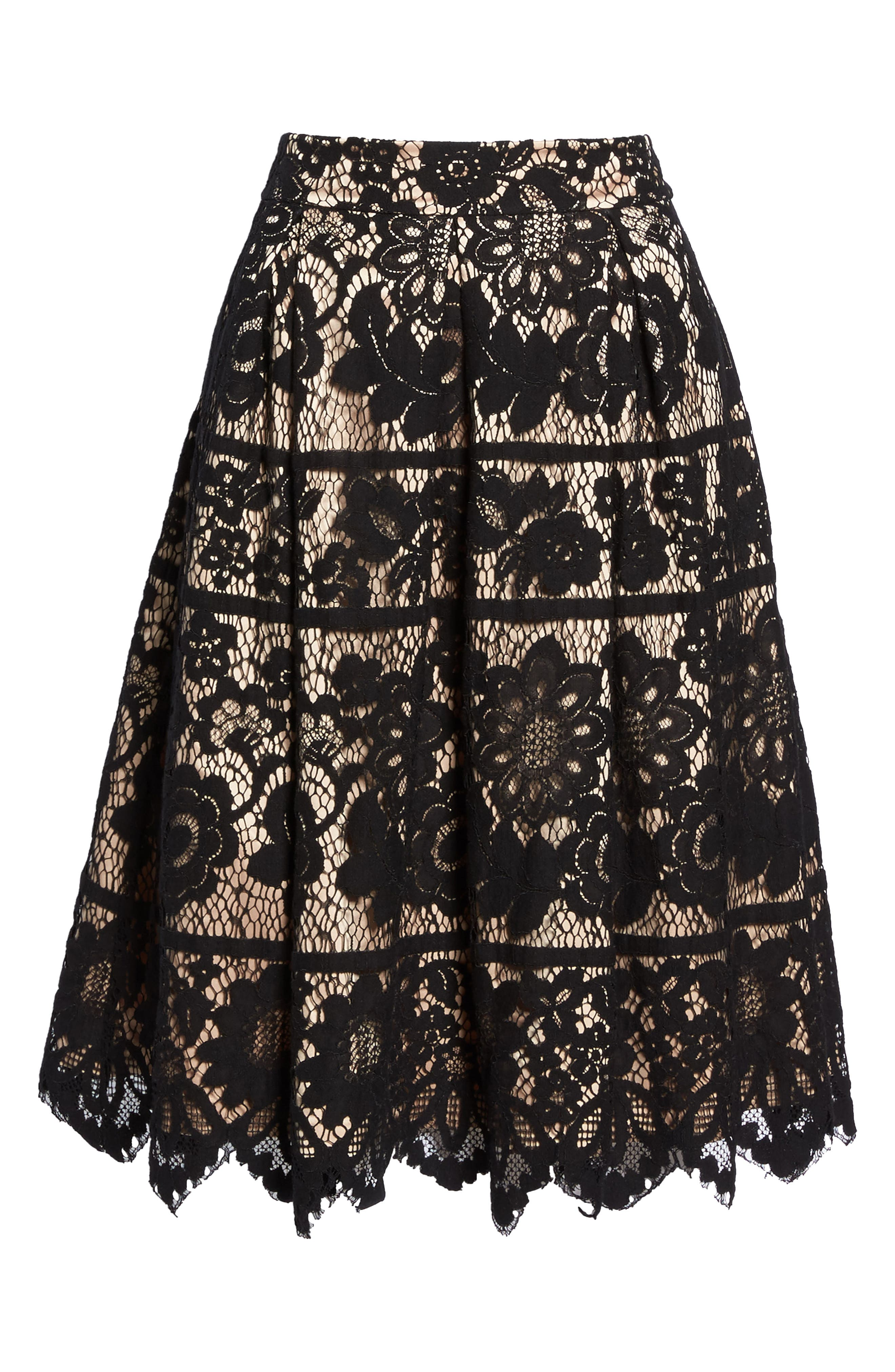 Pleated Lace Skirt,                             Alternate thumbnail 6, color,                             001