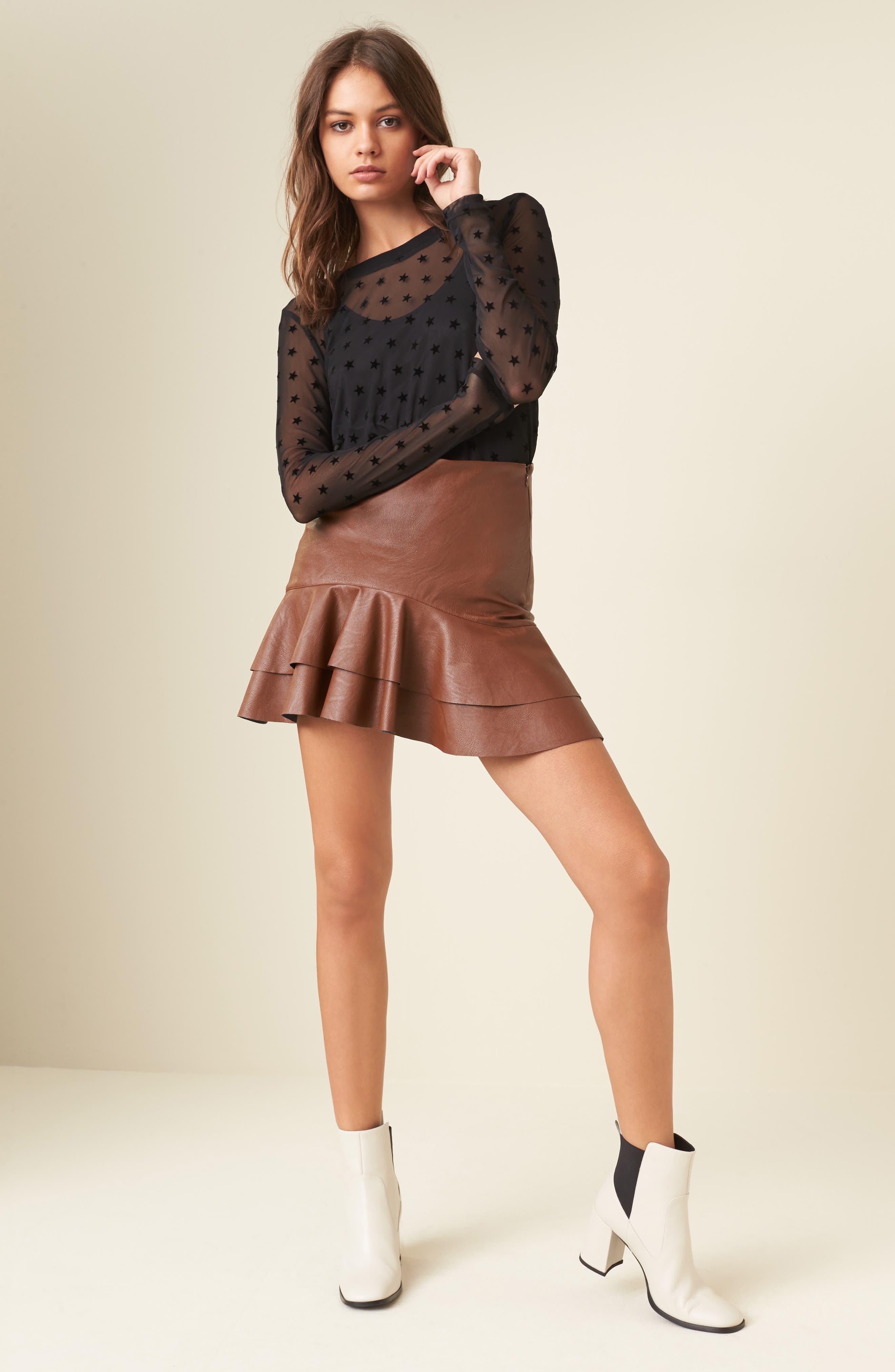 Ruffle Hem Faux Leather Skirt,                             Alternate thumbnail 7, color,