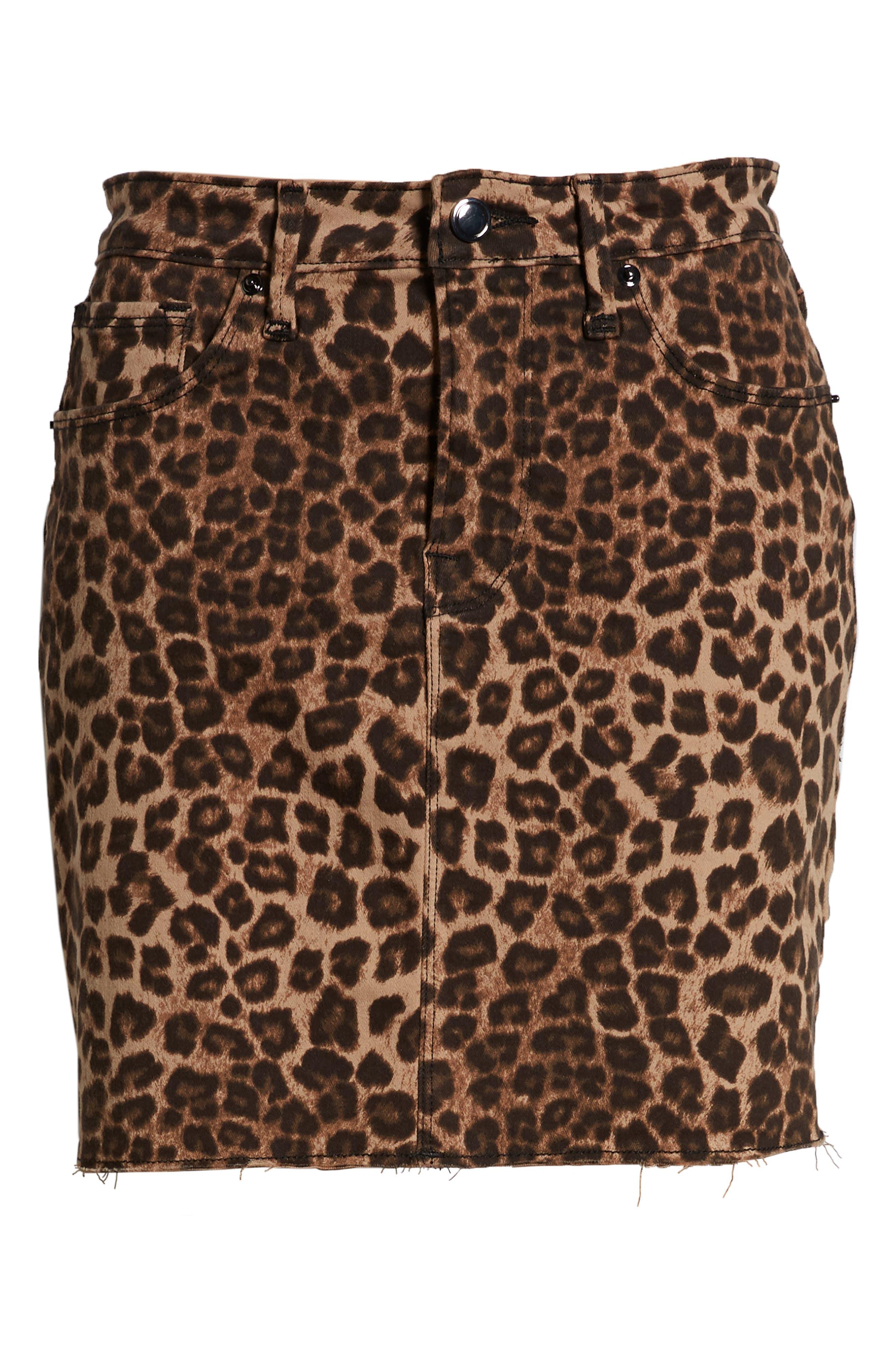 GOOD AMERICAN,                             Cheetah Print Raw Edge Miniskirt,                             Alternate thumbnail 7, color,                             CHEETAH001