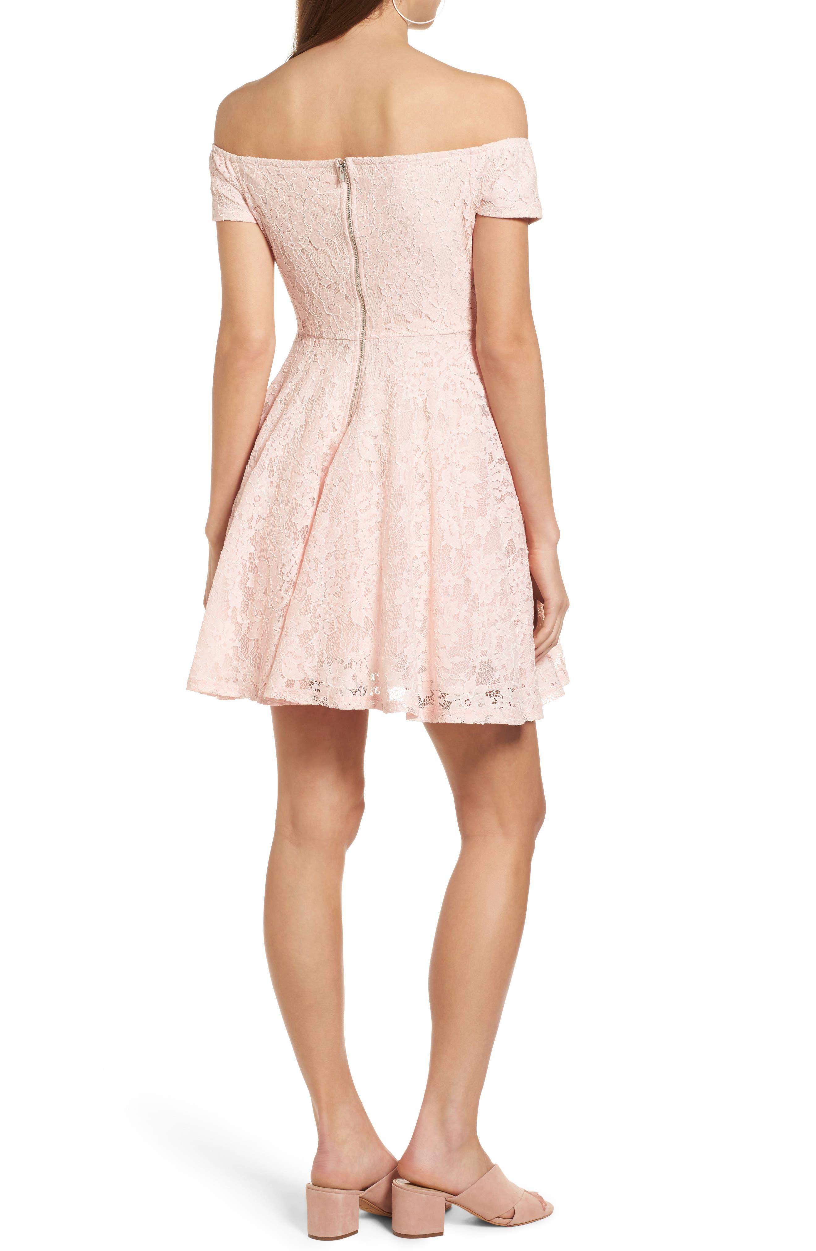 Lace Off the Shoulder Fit & Flare Dress,                             Alternate thumbnail 13, color,