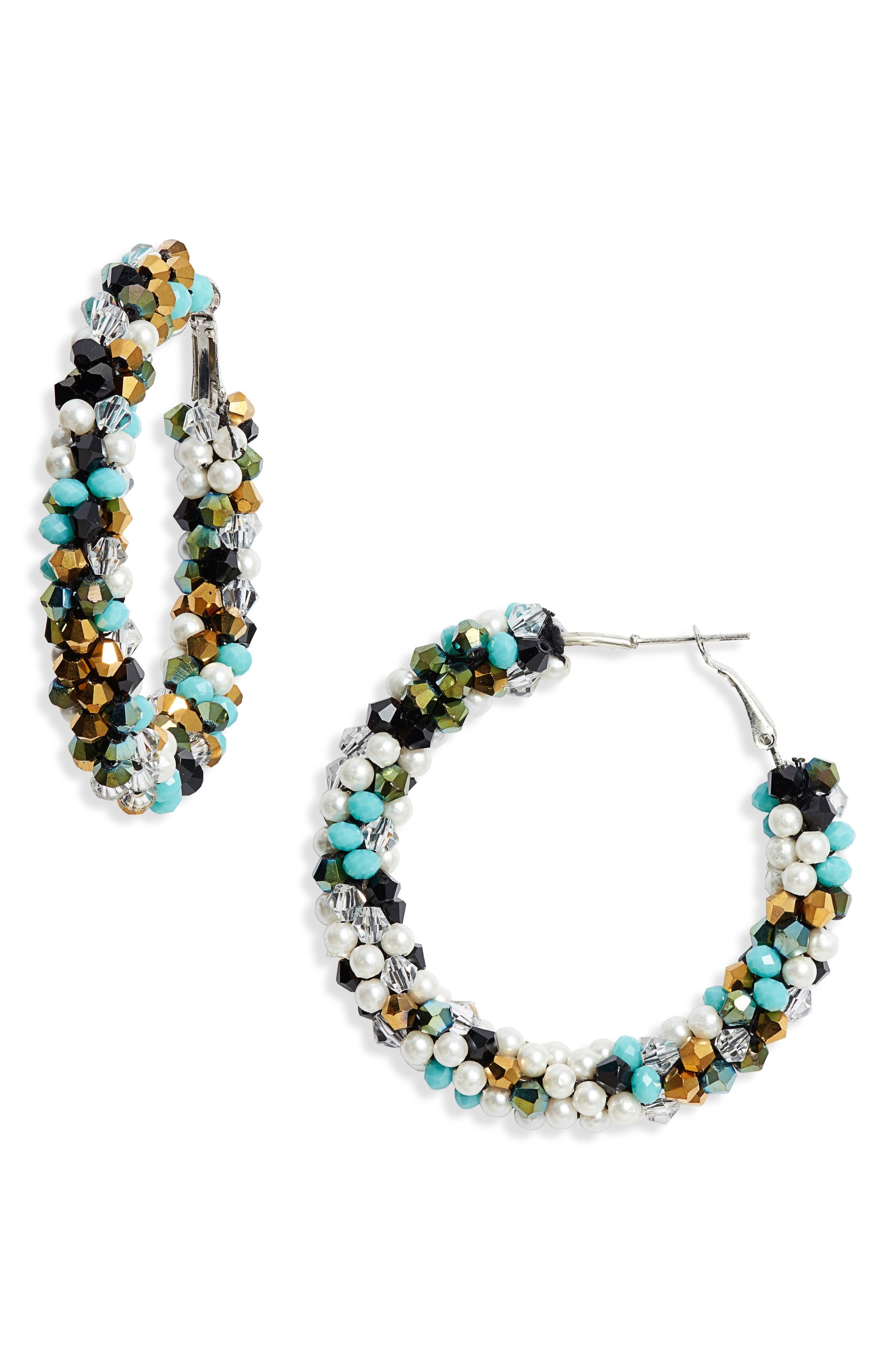AREA STARS Beaded Hoop Earrings in Blue/ Multi