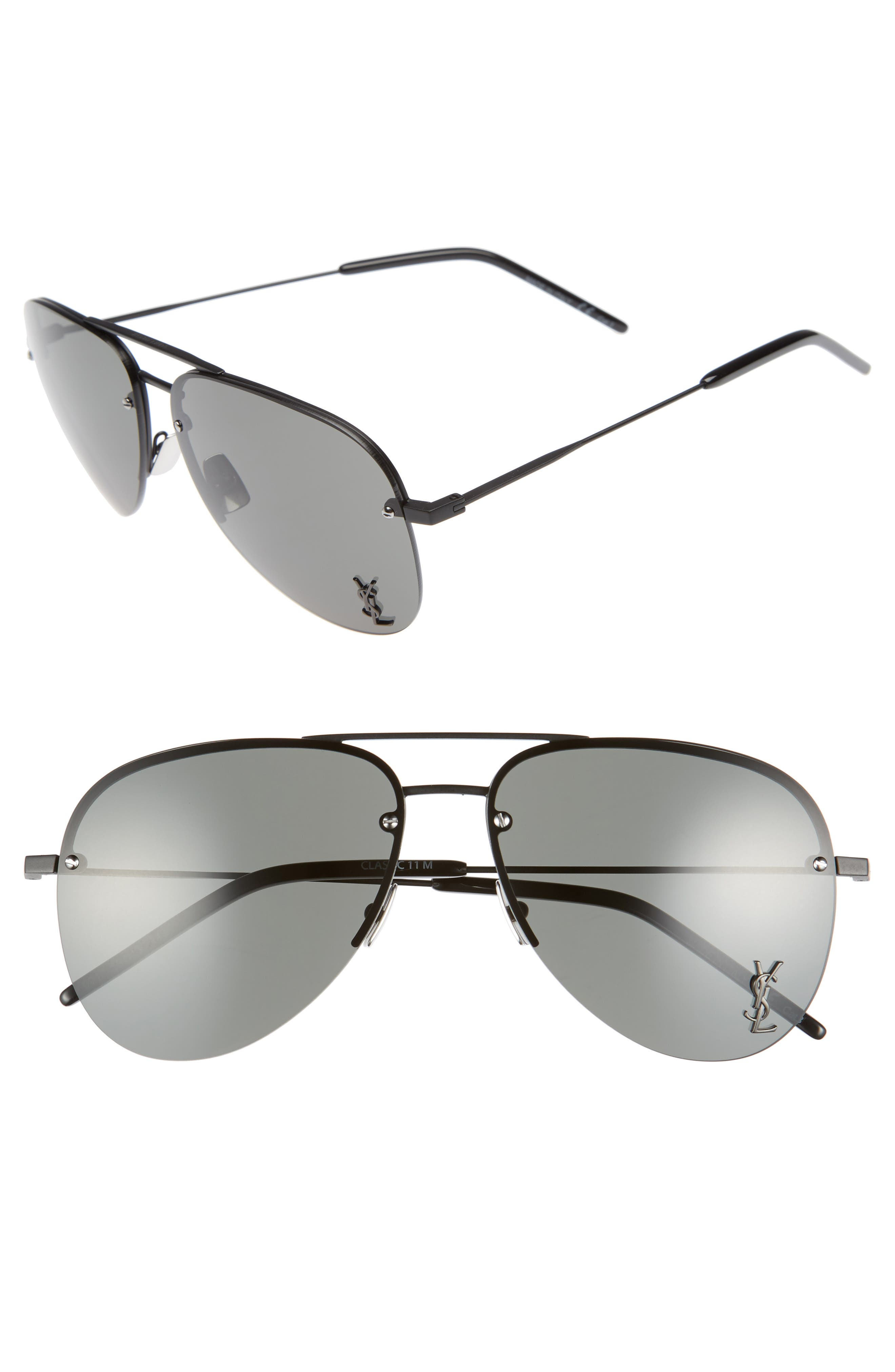 59mm Aviator Sunglasses,                         Main,                         color, 001