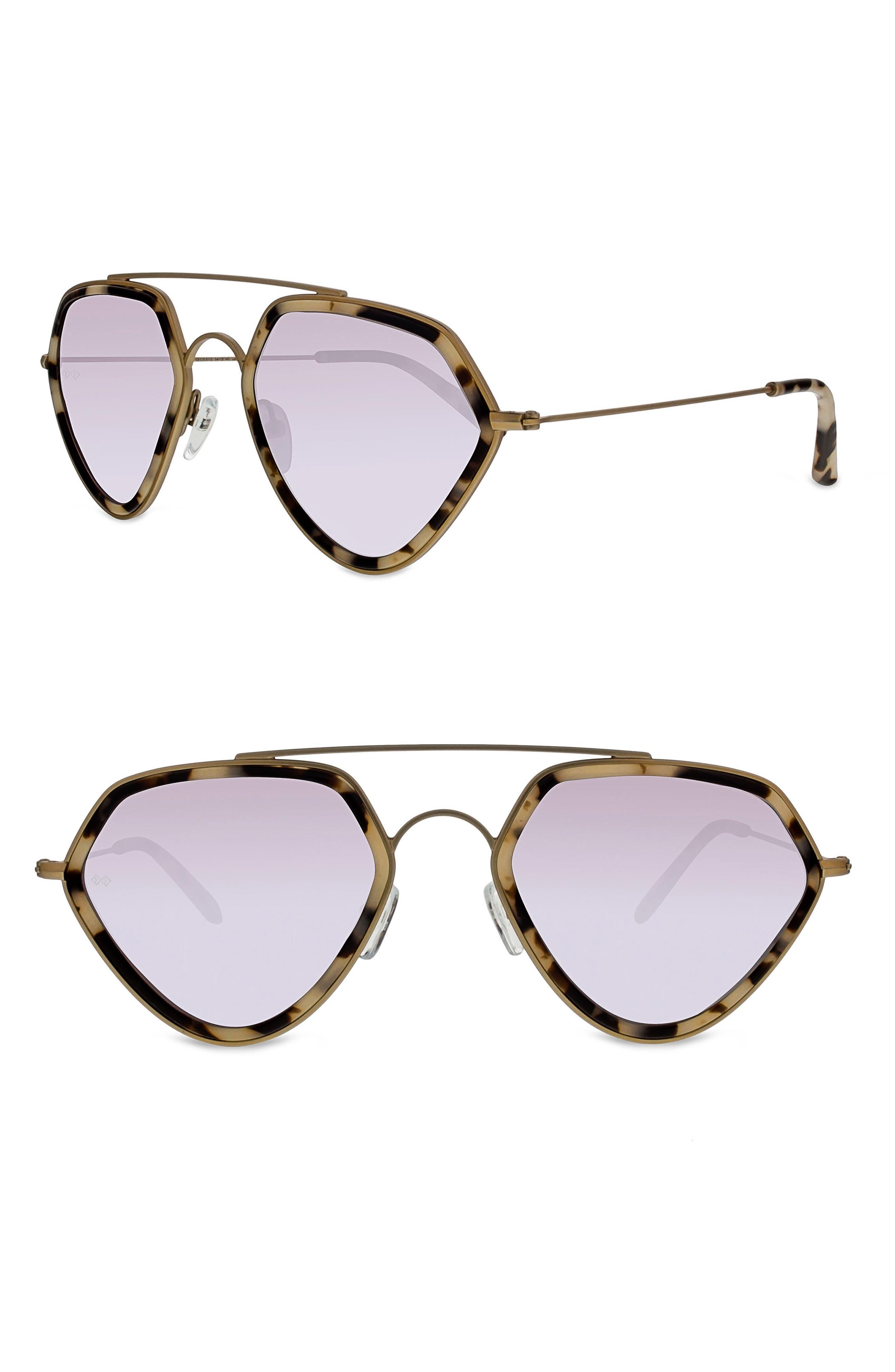 Geo II 54mm Sunglasses,                         Main,                         color, MATTE GOLD/ SILVER MIRROR