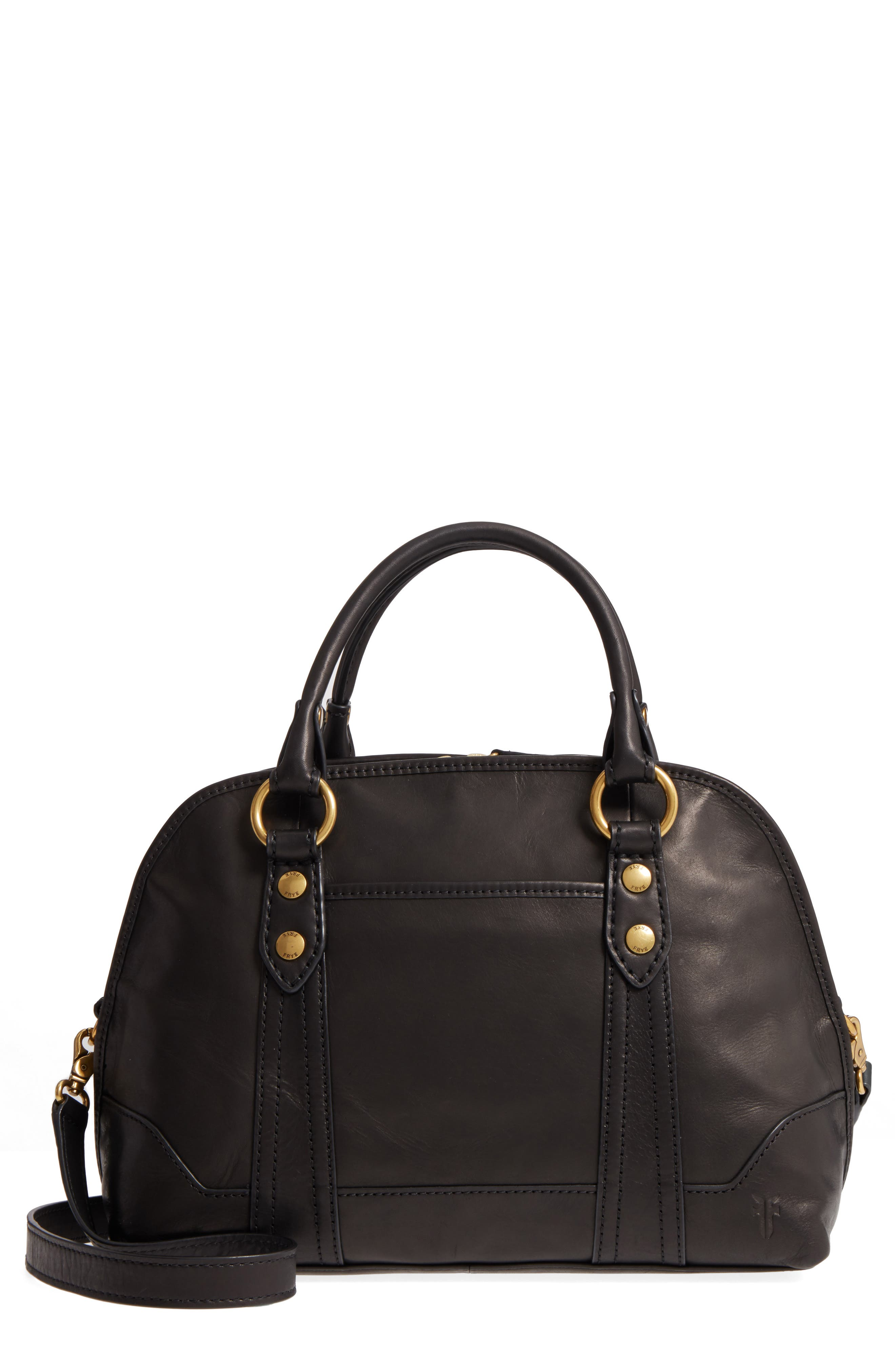 Melissa Domed Leather Satchel,                             Main thumbnail 1, color,                             001