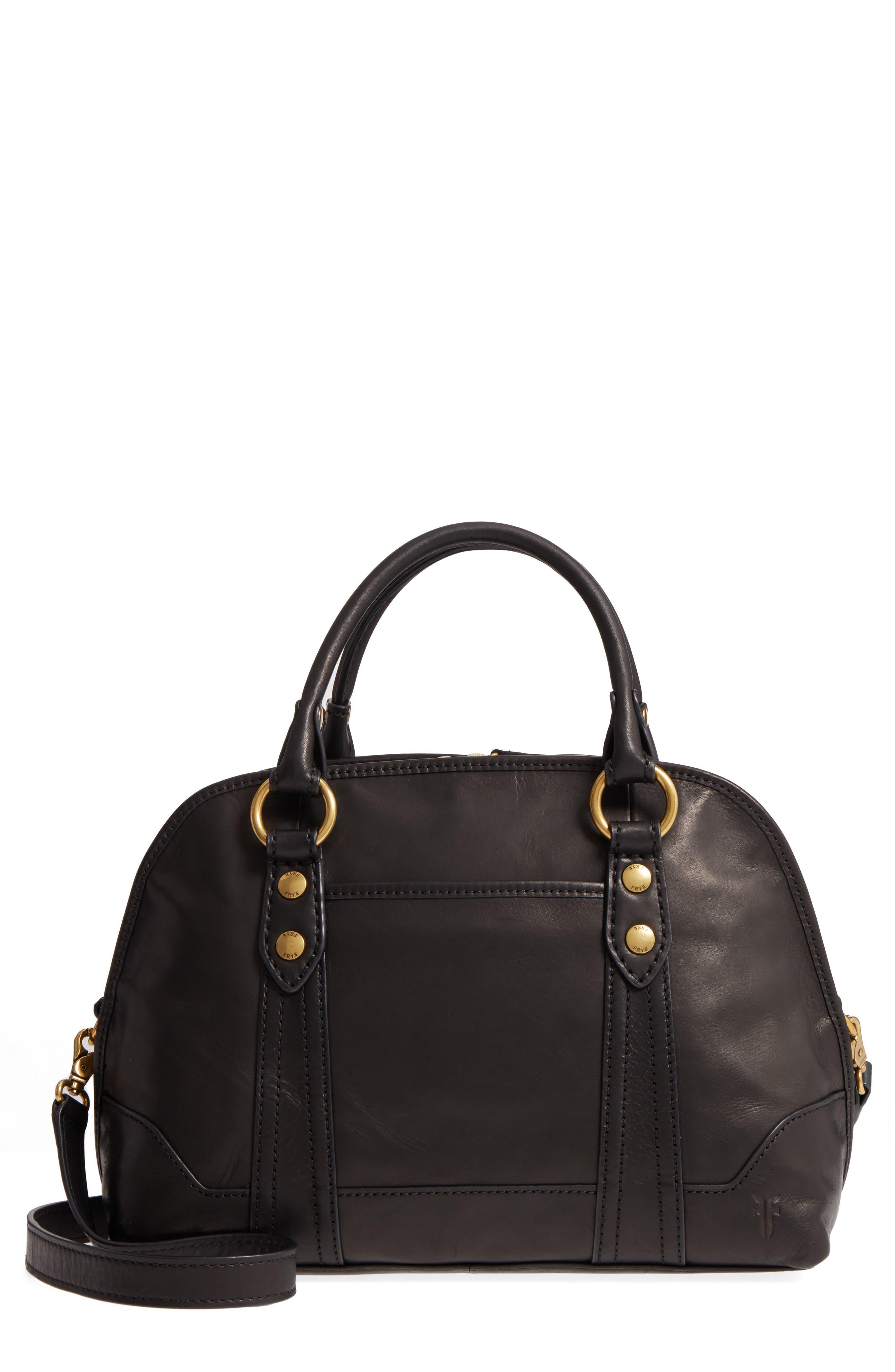 Melissa Domed Leather Satchel,                         Main,                         color, 001