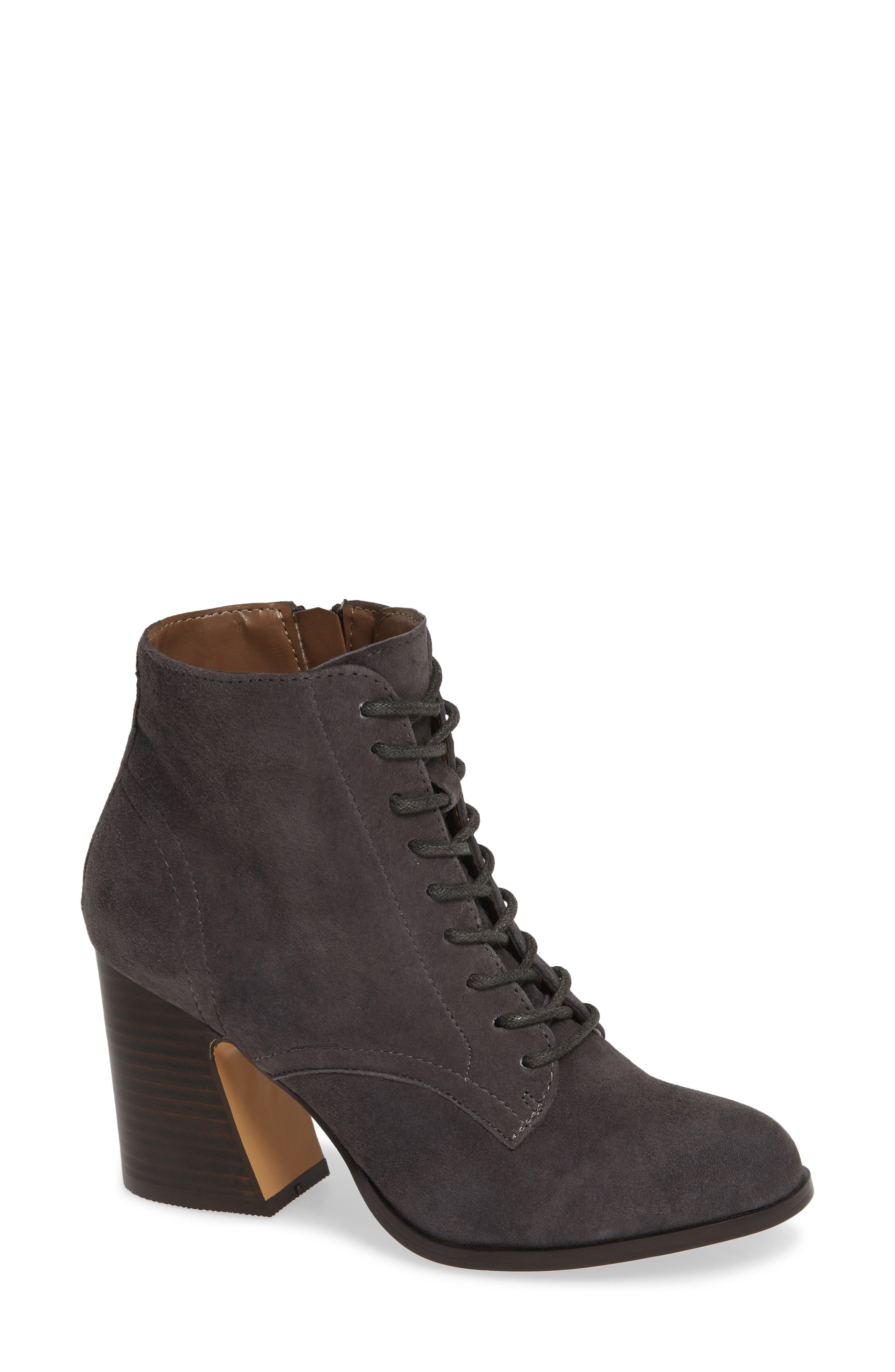 KENSIE Smith Lace-Up Bootie in Charcoal Suede