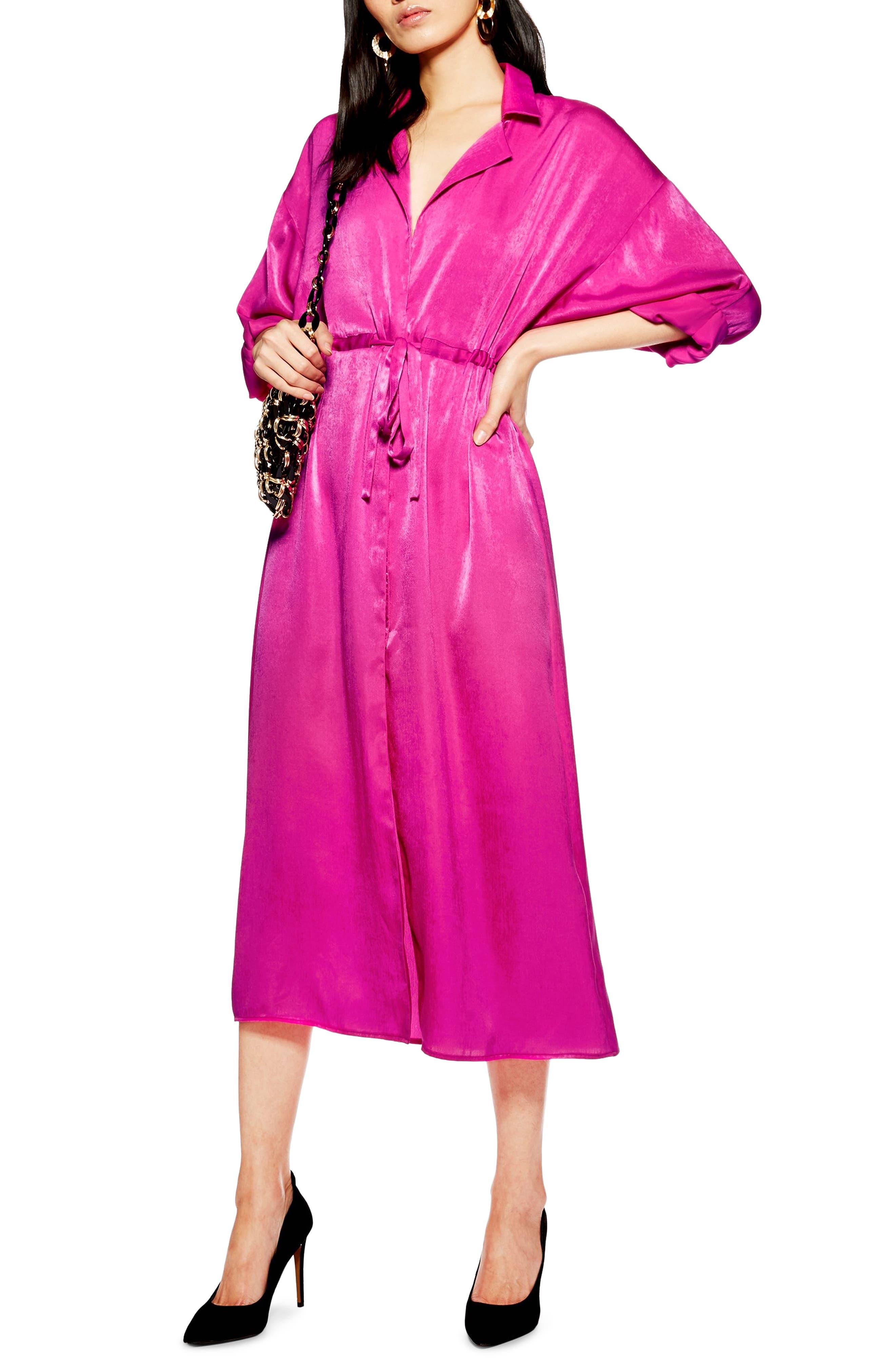 TOPSHOP Satin Midi Shirtdress, Main, color, BRIGHT PINK
