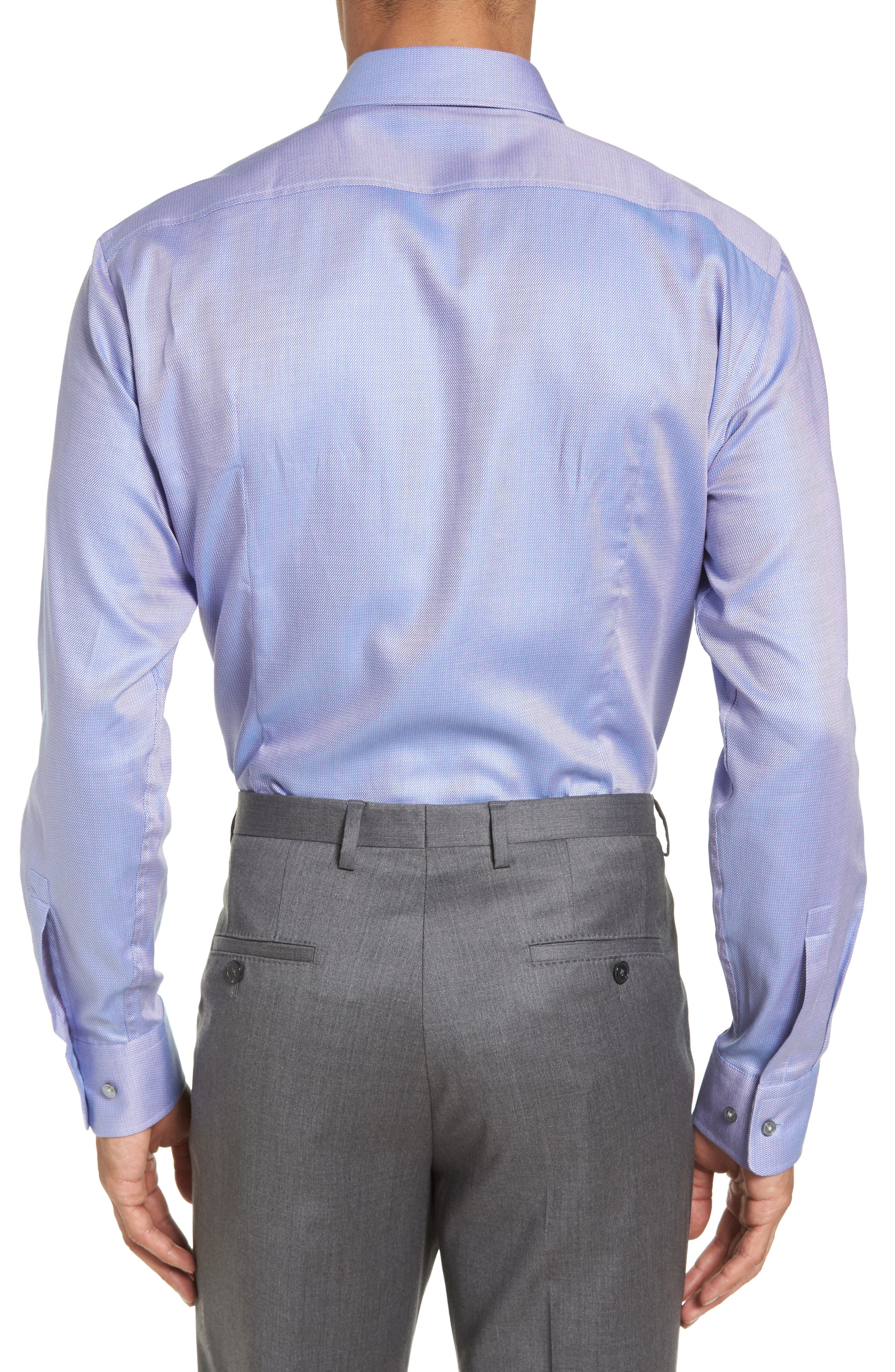 Sharp Fit Solid Dress Shirt,                             Alternate thumbnail 4, color,