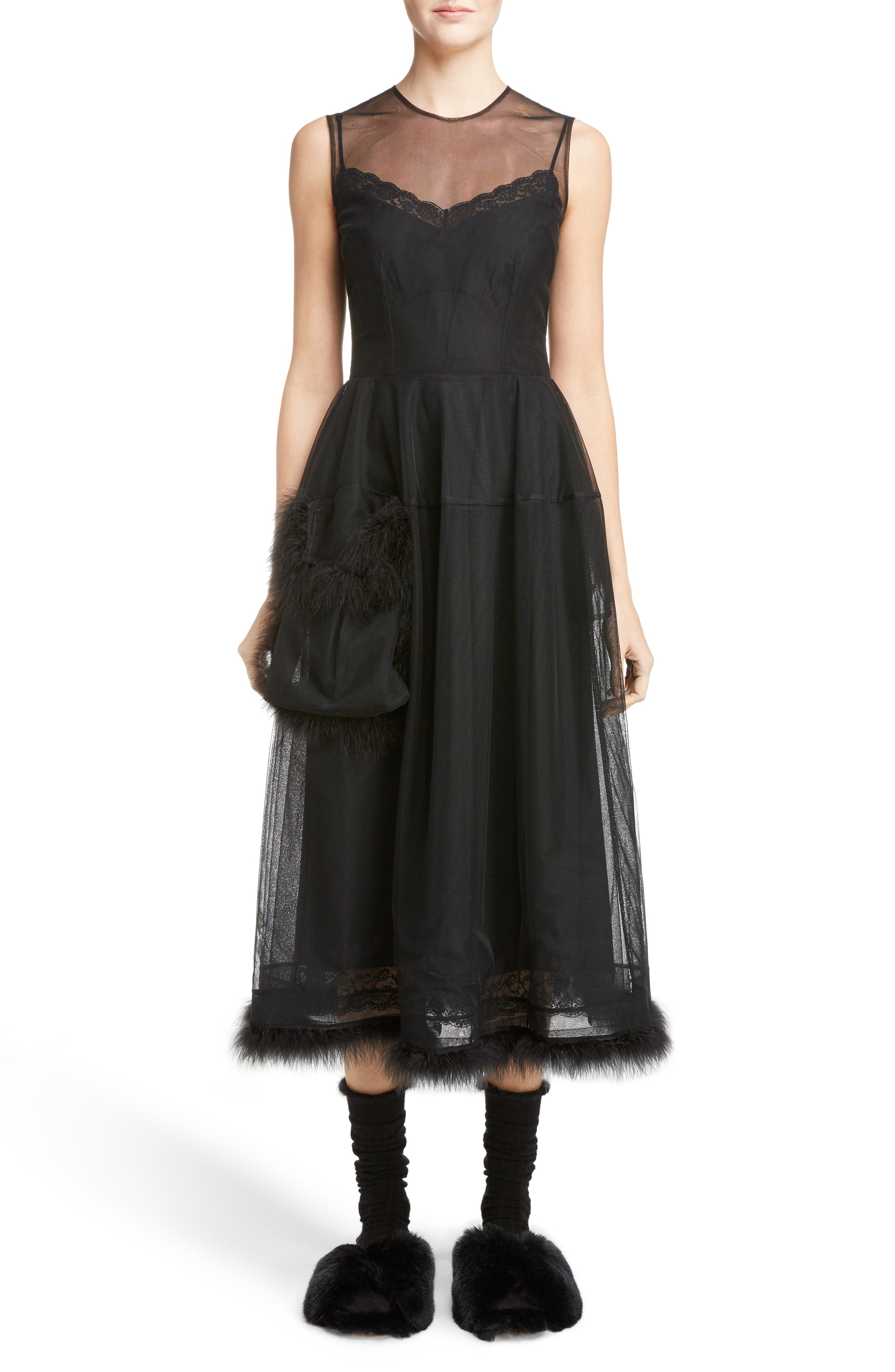 Teddy Feather Trim Tulle Dress,                         Main,                         color, 001