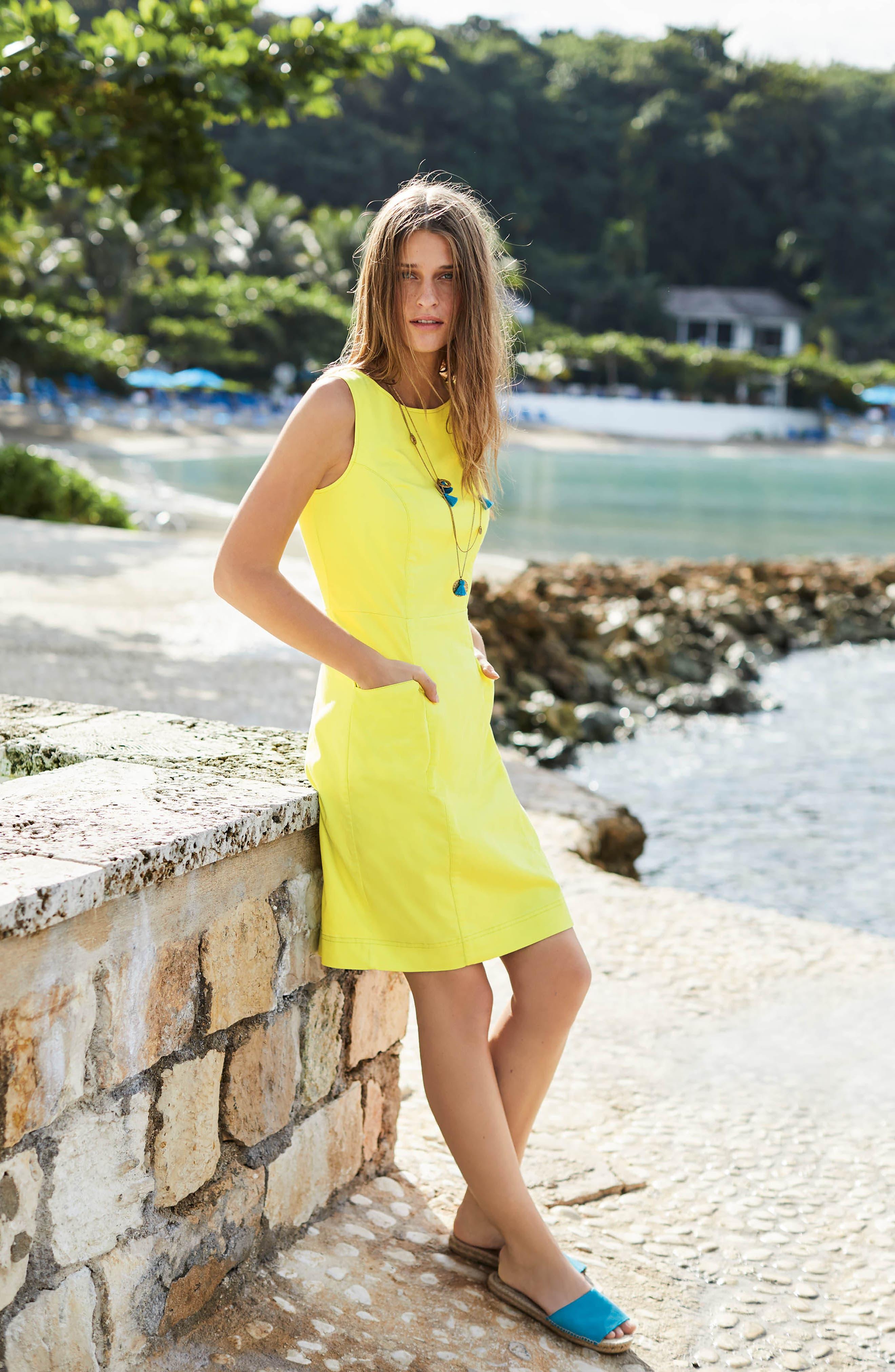 Tamara Stretch Cotton Sleeveless Dress,                             Alternate thumbnail 6, color,