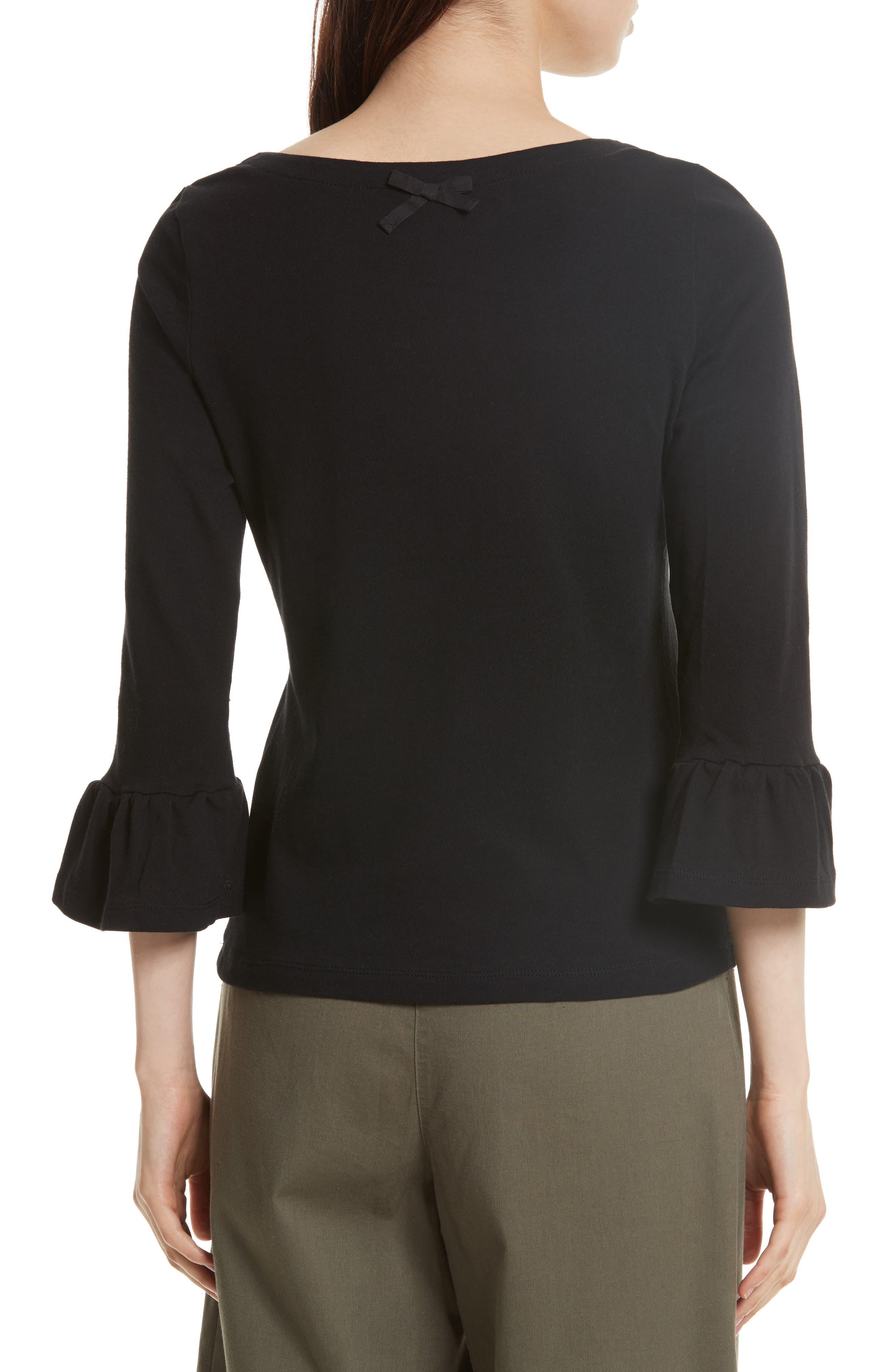 flounce sleeve knit top,                             Alternate thumbnail 2, color,                             001