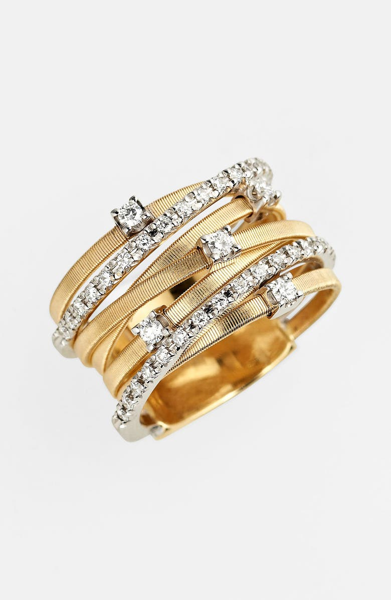 507b86c98 Marco Bicego Goa Diamond, 18K White, Rose & Yellow Gold Seven-Strand Ring
