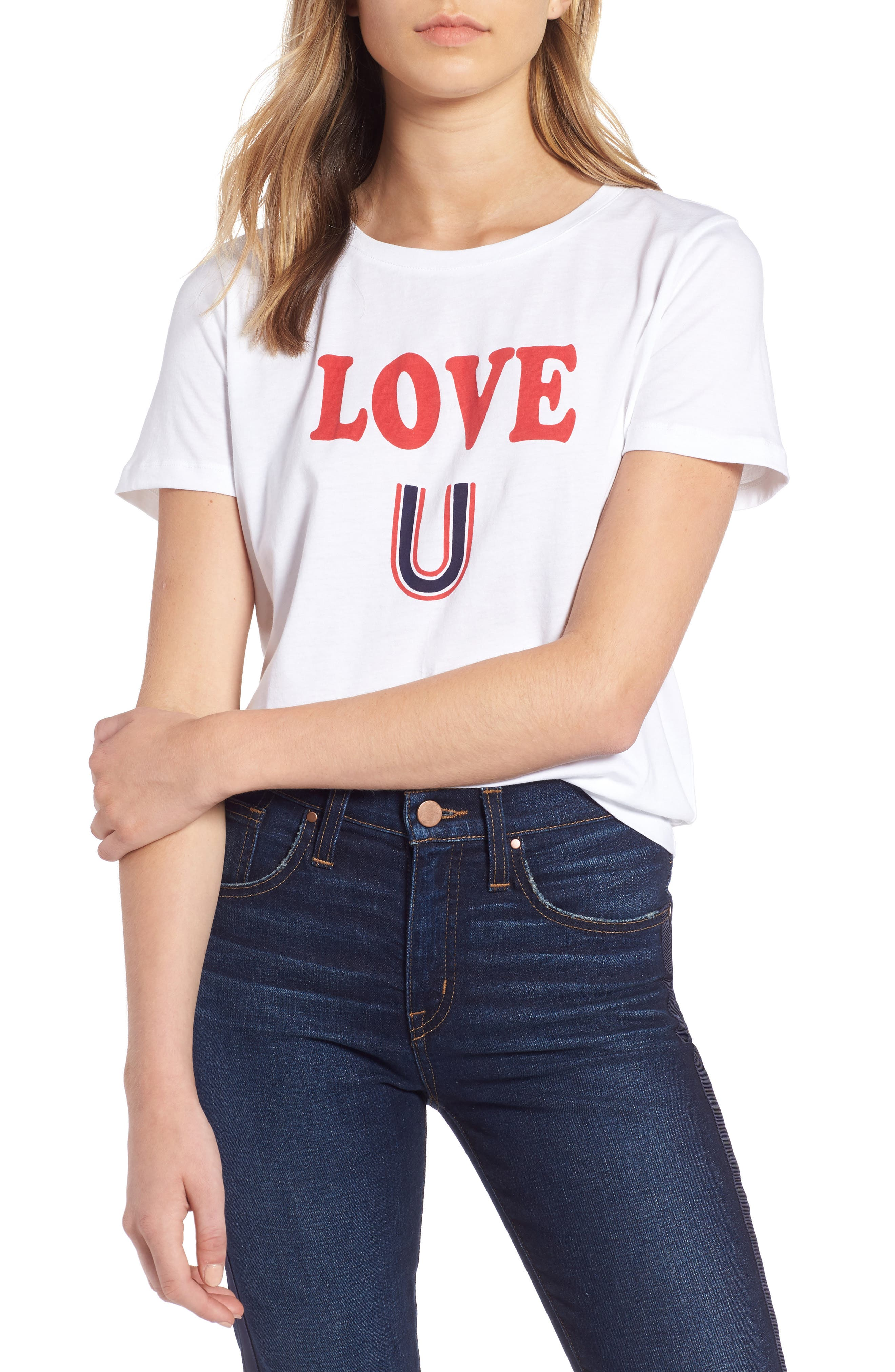 Short Sleeve Graphic Tee,                             Main thumbnail 1, color,                             WHITE- RED LOVE U