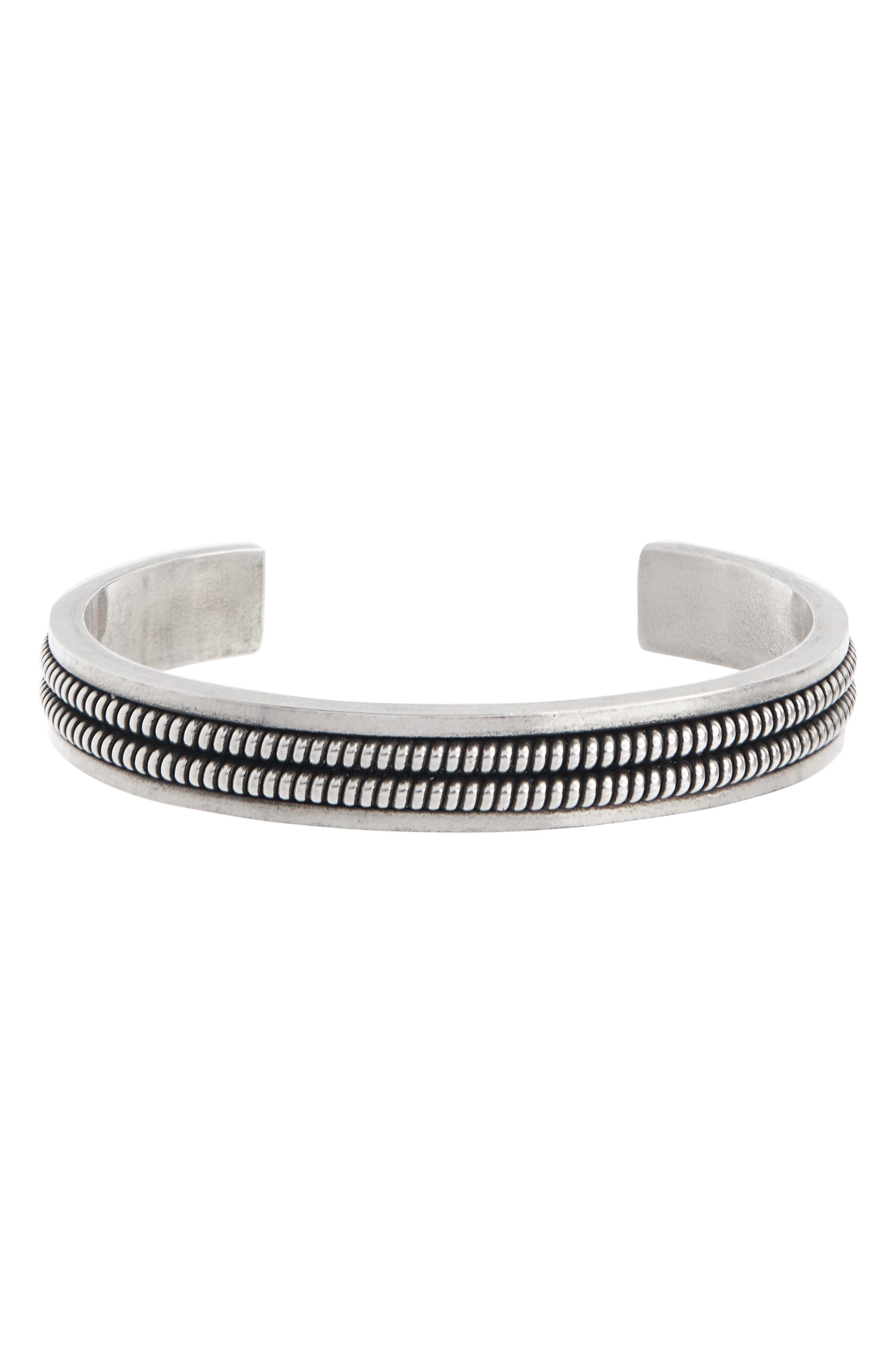 SAINT LAURENT 2 Lignes Cuff Bracelet, Main, color, SILVER