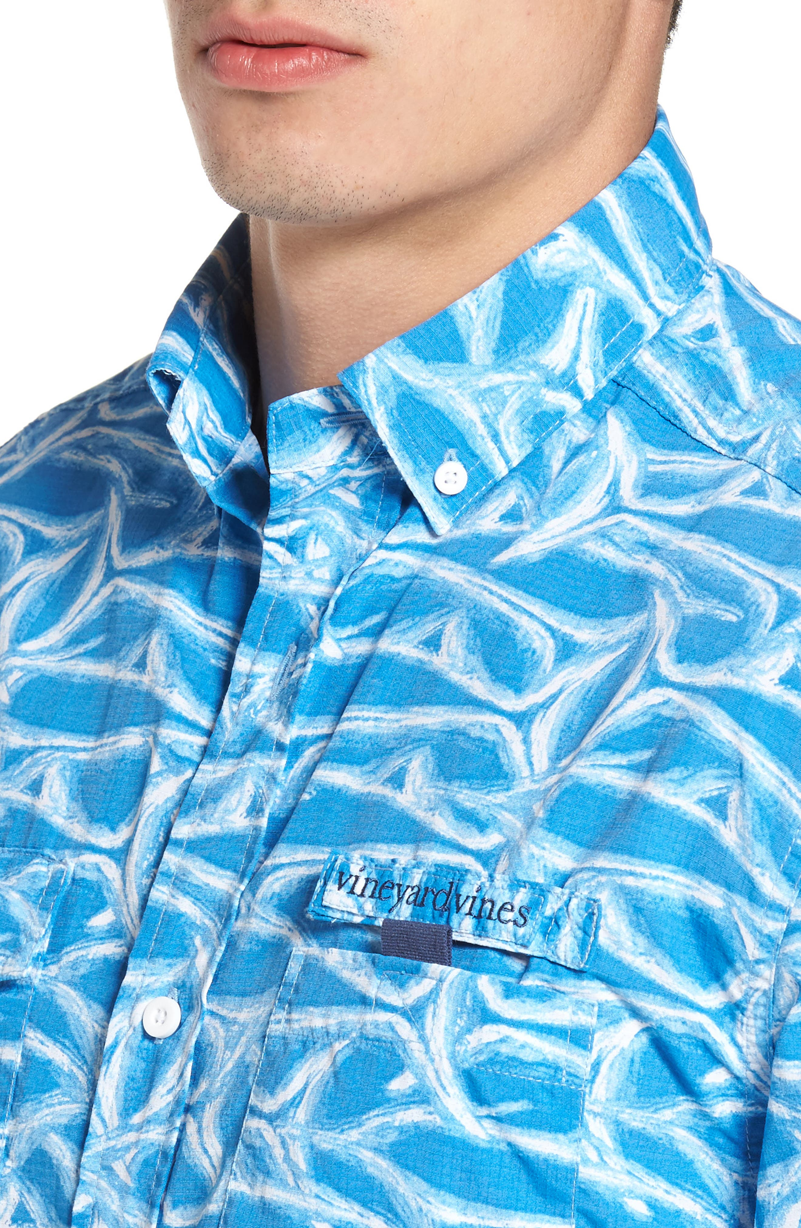Harbor Brushed Marlin Fishing Shirt,                             Alternate thumbnail 4, color,                             496