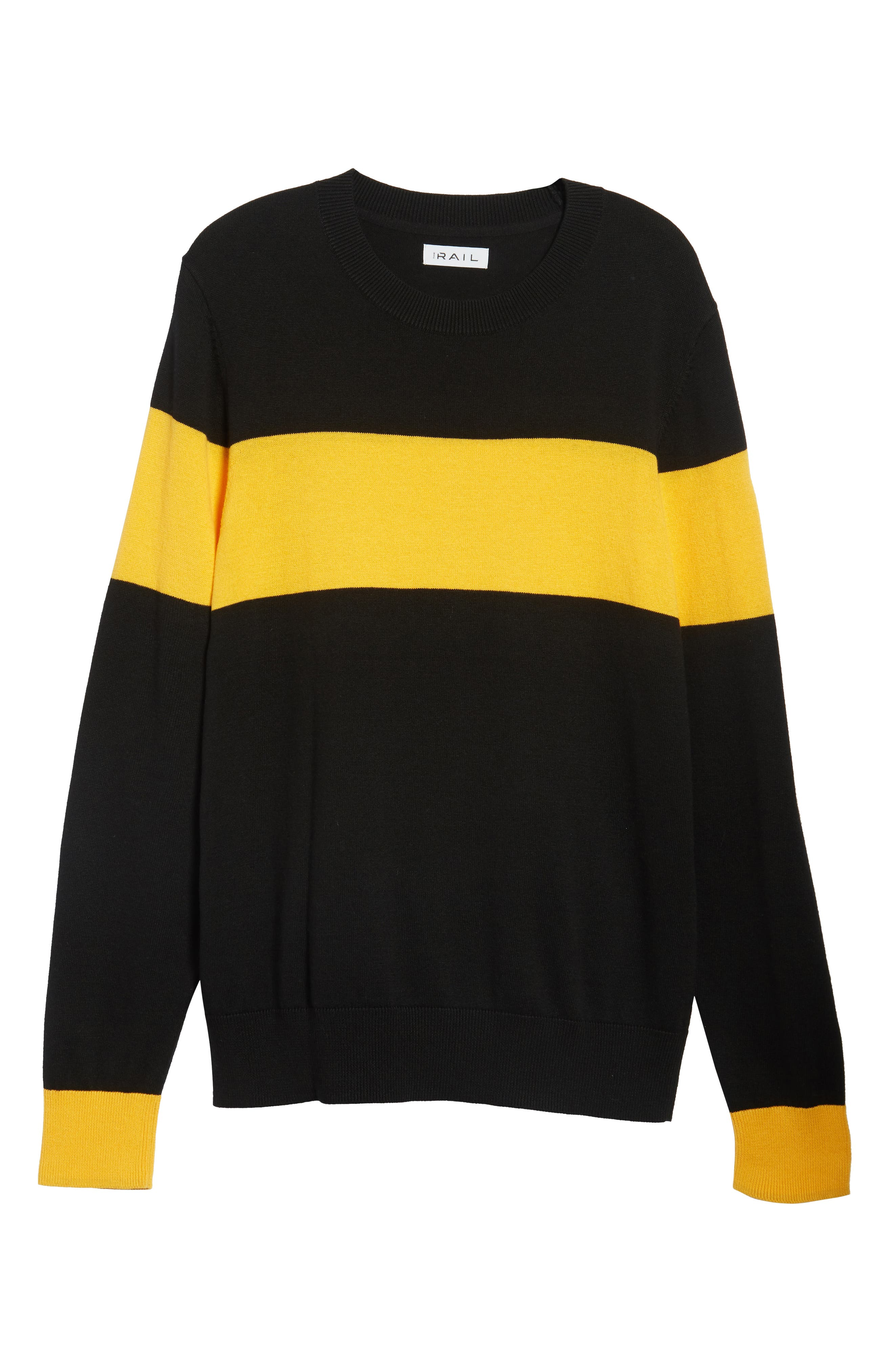 Rugby Stripe Sweater,                             Alternate thumbnail 6, color,                             BLACK YELLOW RUGBY STRIPE
