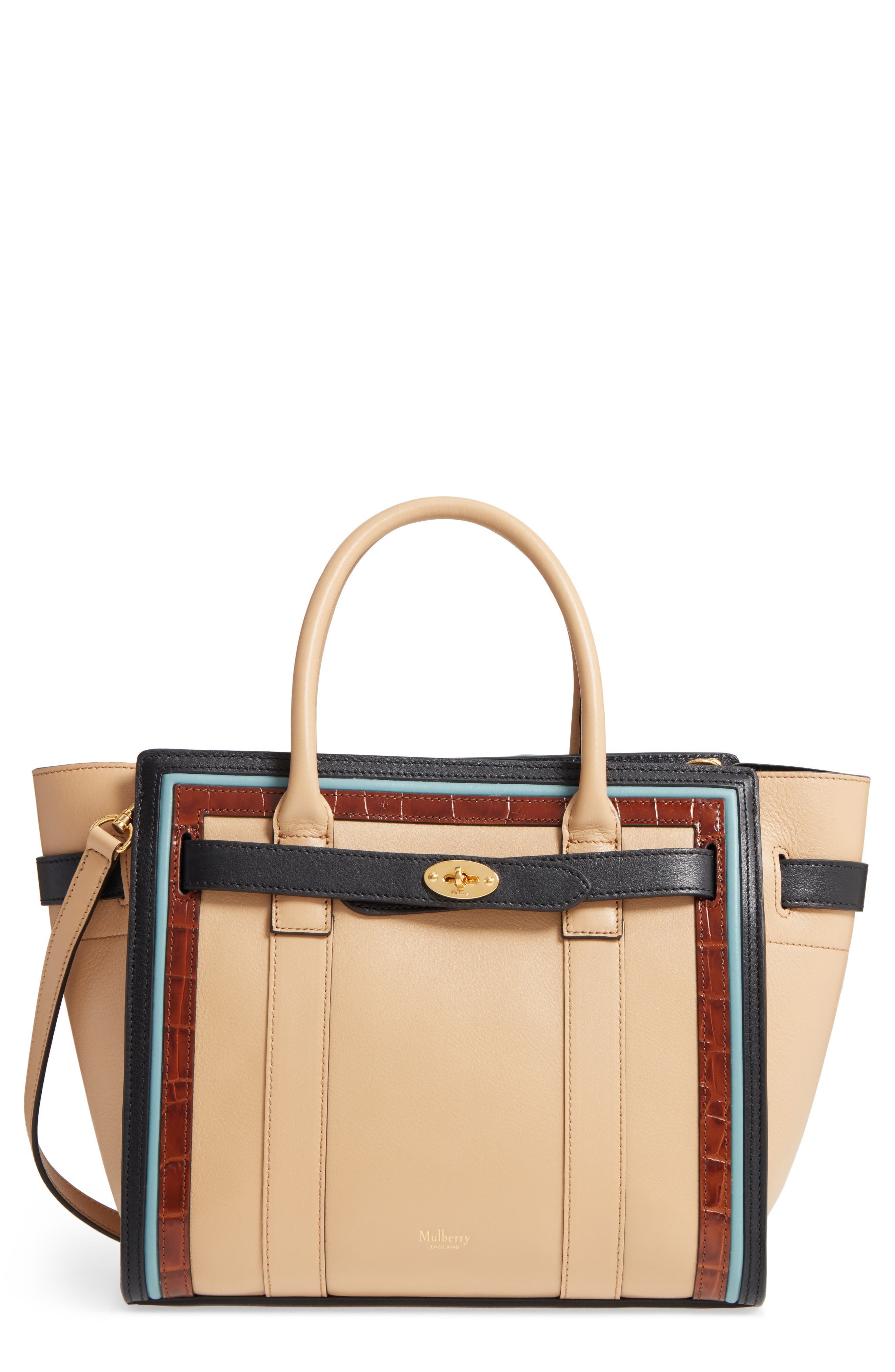 Small Bayswater Leather Satchel,                         Main,                         color, 010