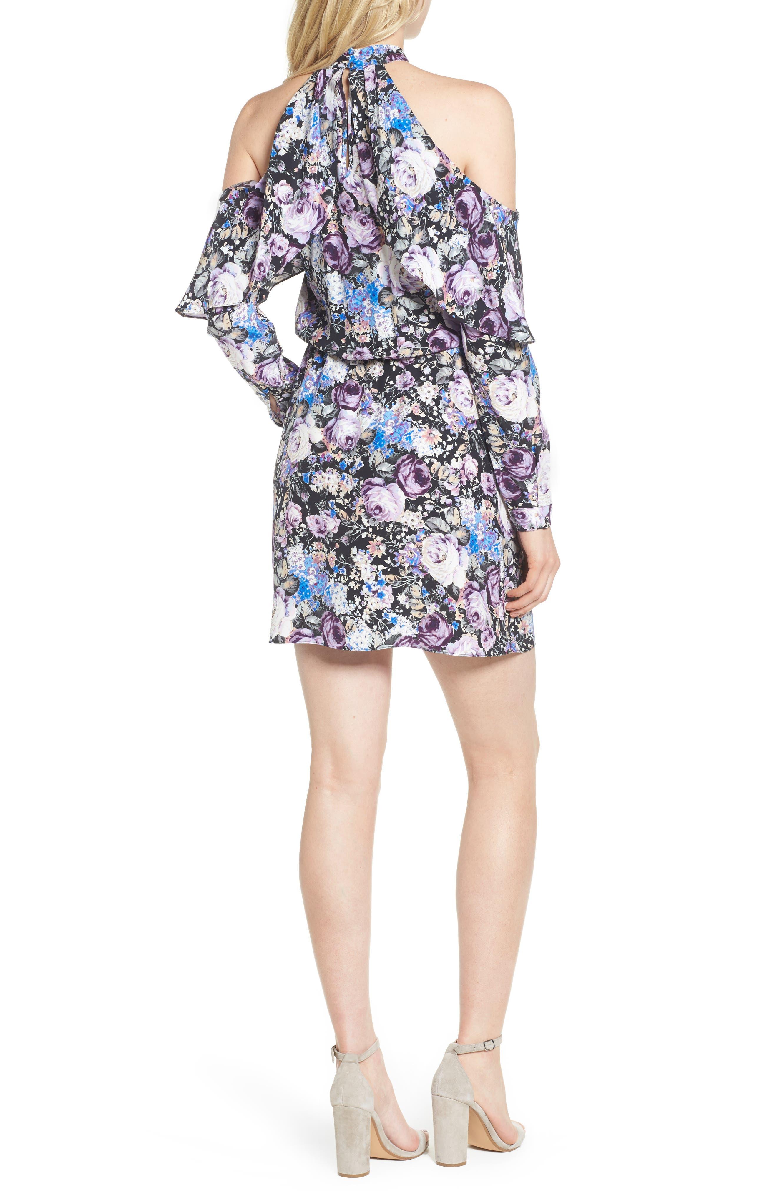 Noemi Cold Shoulder Silk Dress,                             Alternate thumbnail 2, color,                             500
