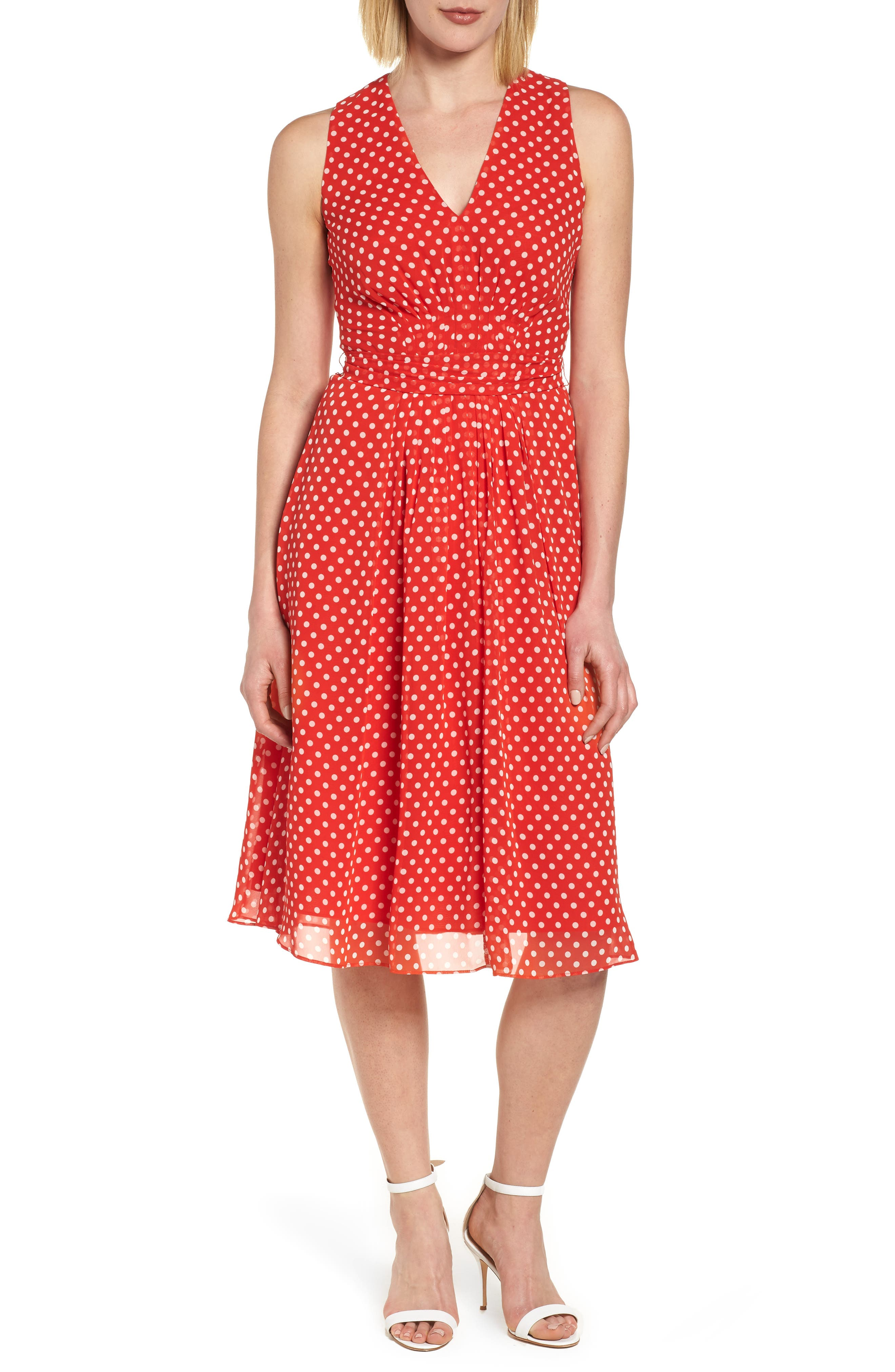 Polka Dot A-Line Dress,                             Alternate thumbnail 6, color,                             600