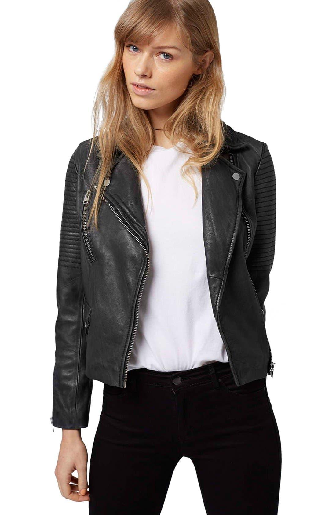 'Orbit' Leather Moto Jacket,                             Alternate thumbnail 3, color,                             001