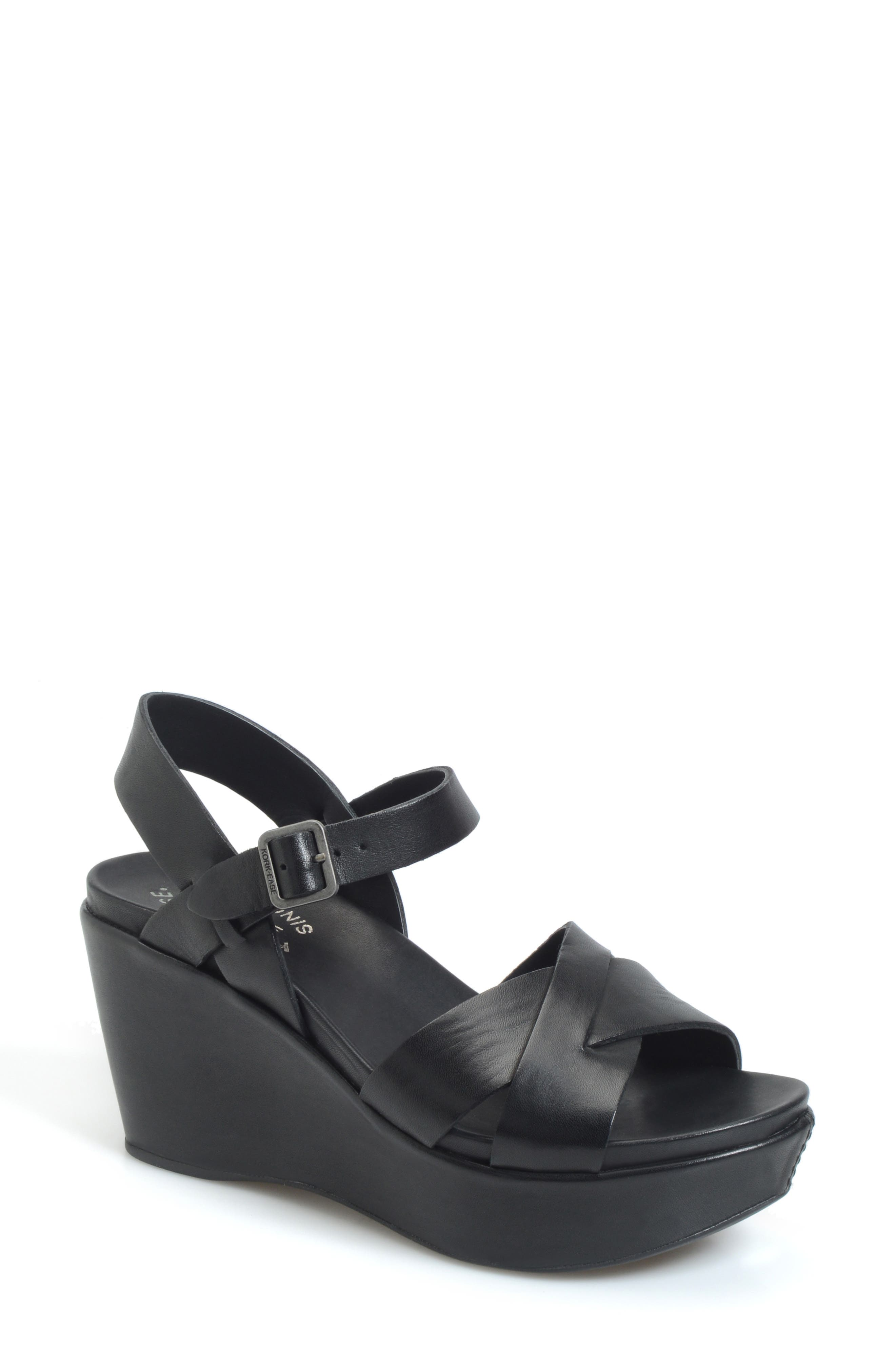 KORK-EASE<SUP>®</SUP> 'Ava 2.0' Platform Wedge Sandal, Main, color, BLACK