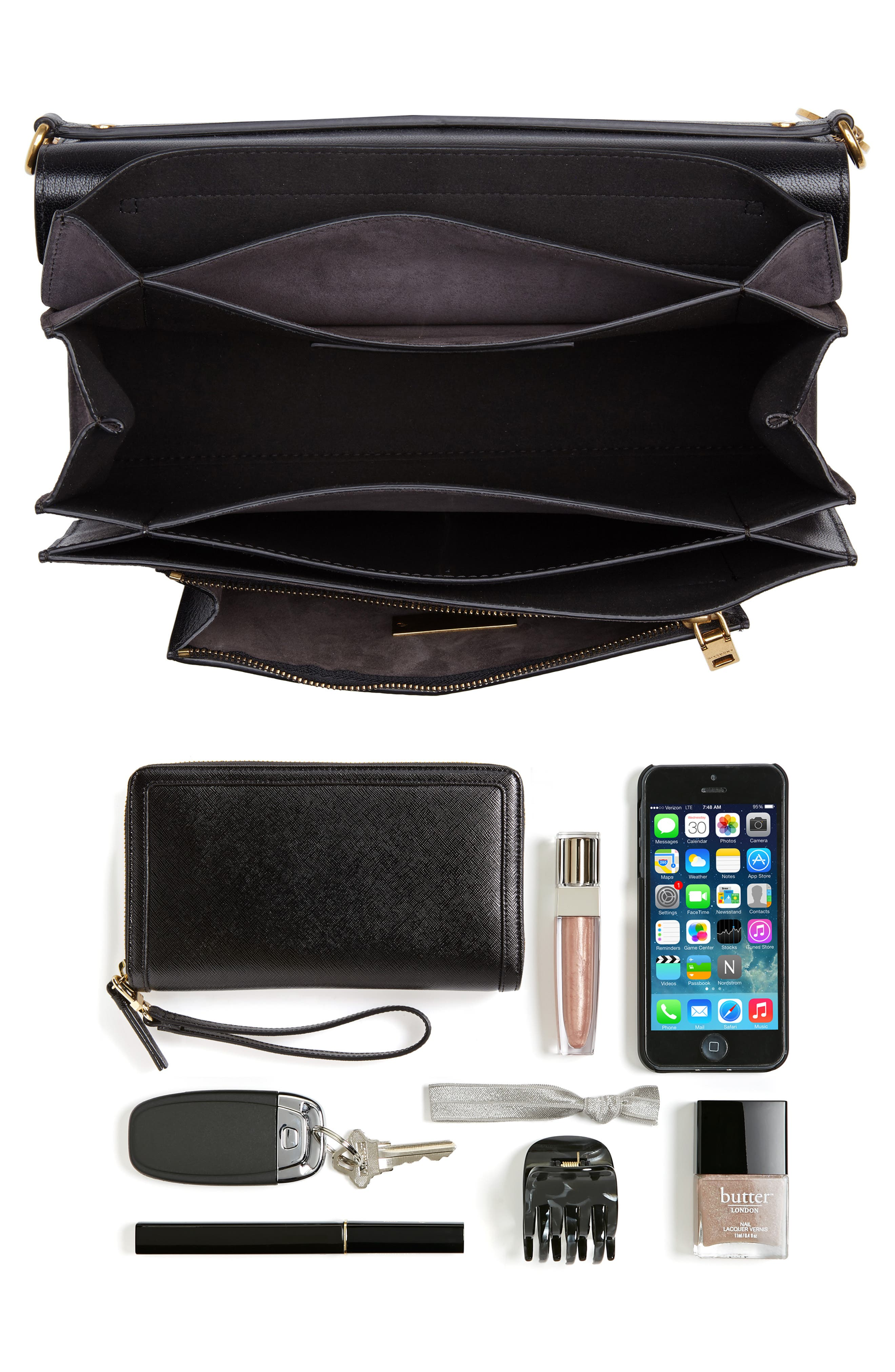 Medium GV3 Leather Crossbody Bag,                             Alternate thumbnail 7, color,                             BLACK/ GREY
