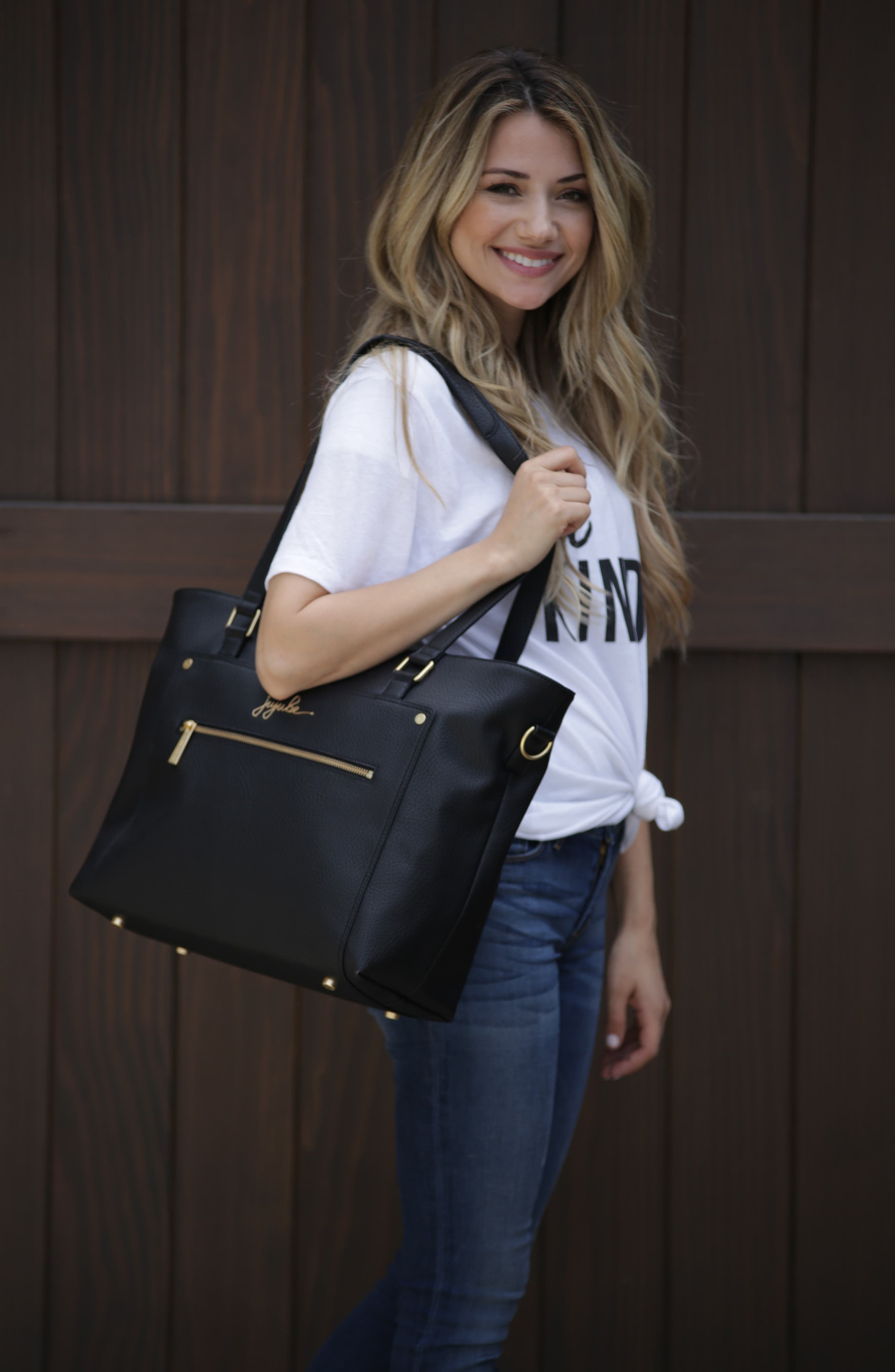 Ever Collection Everyday Faux Leather Diaper Tote,                             Alternate thumbnail 10, color,                             NOIR