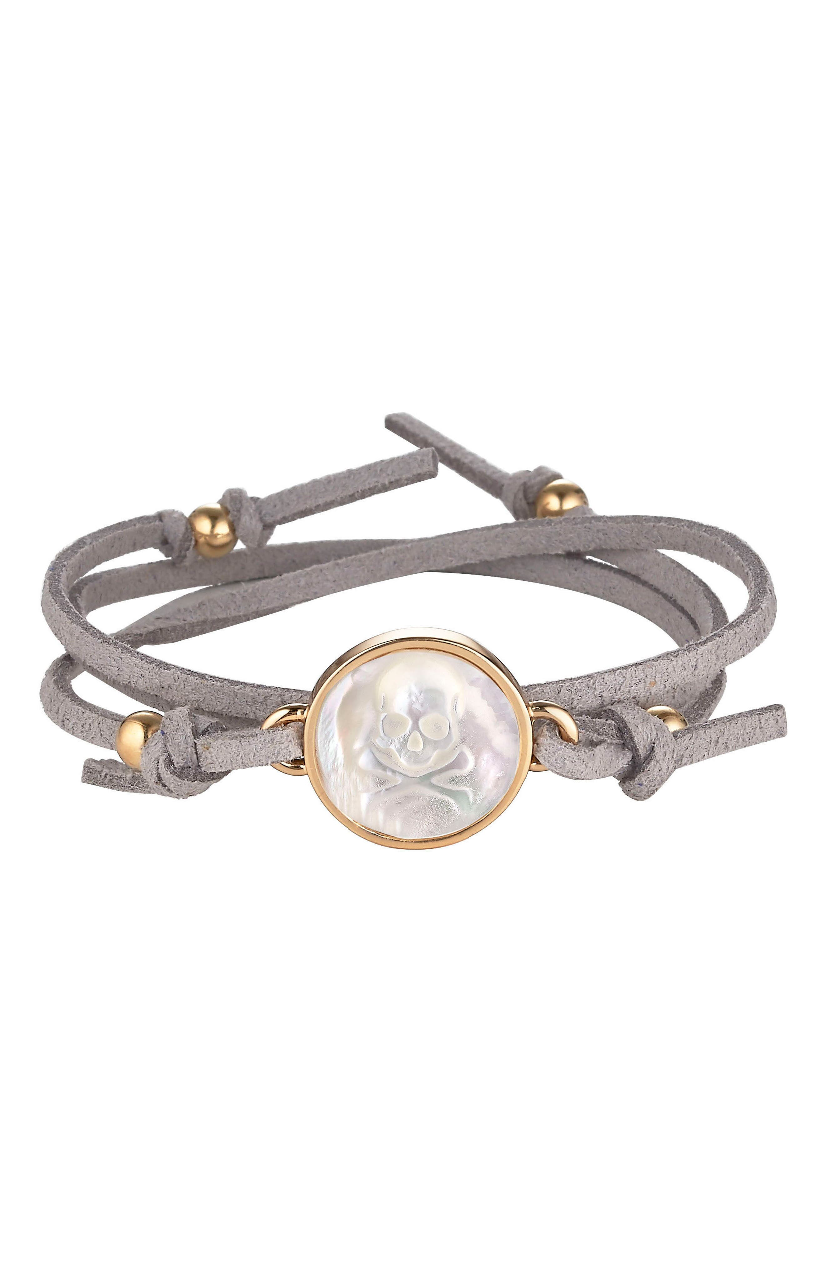 Skull & Bones Suede Wrap Bracelet,                         Main,                         color, GREY SKULL