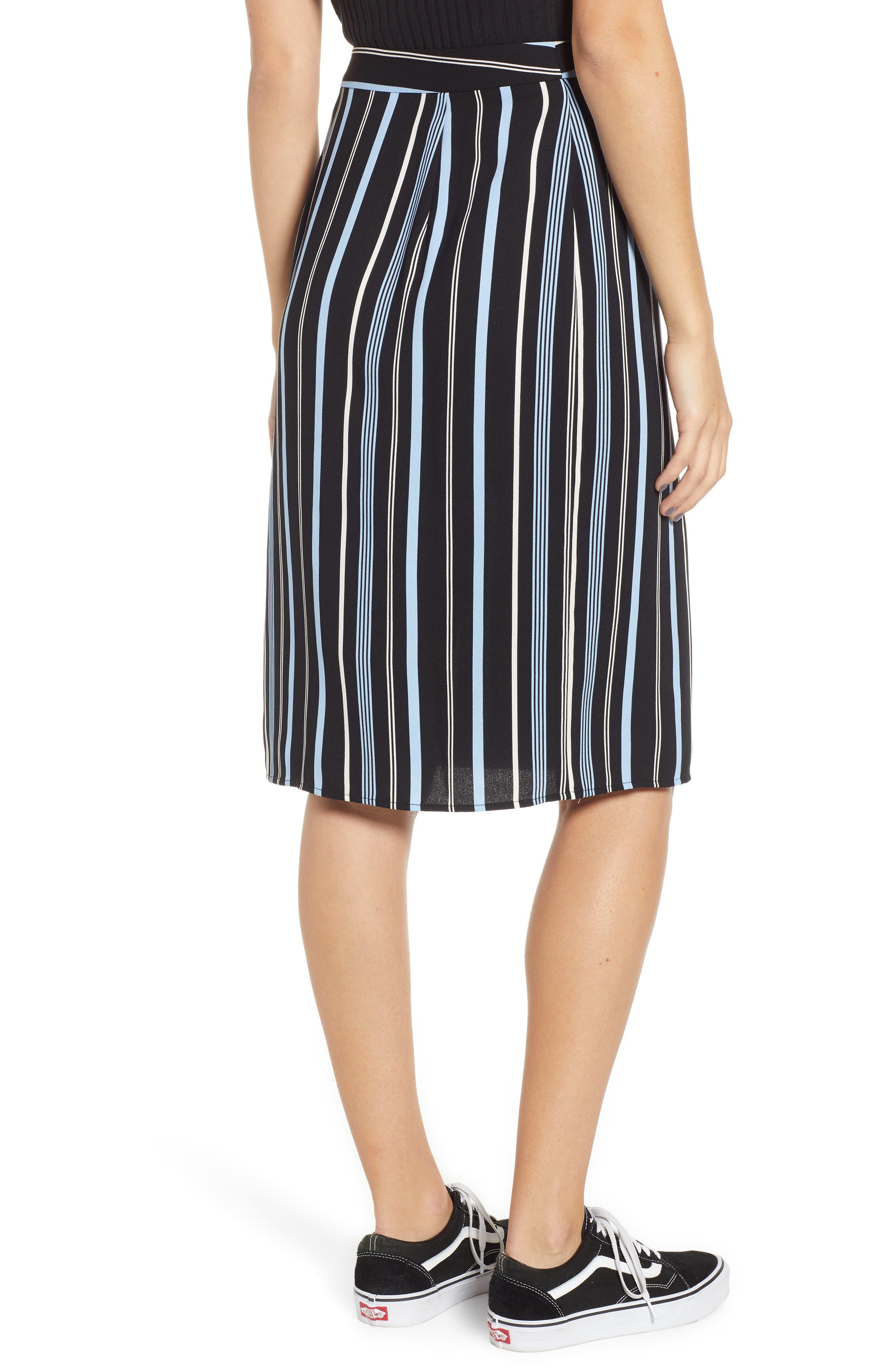 Button Wrap Skirt,                             Alternate thumbnail 3, color,                             BLACK MULTI COLORED STRIPE