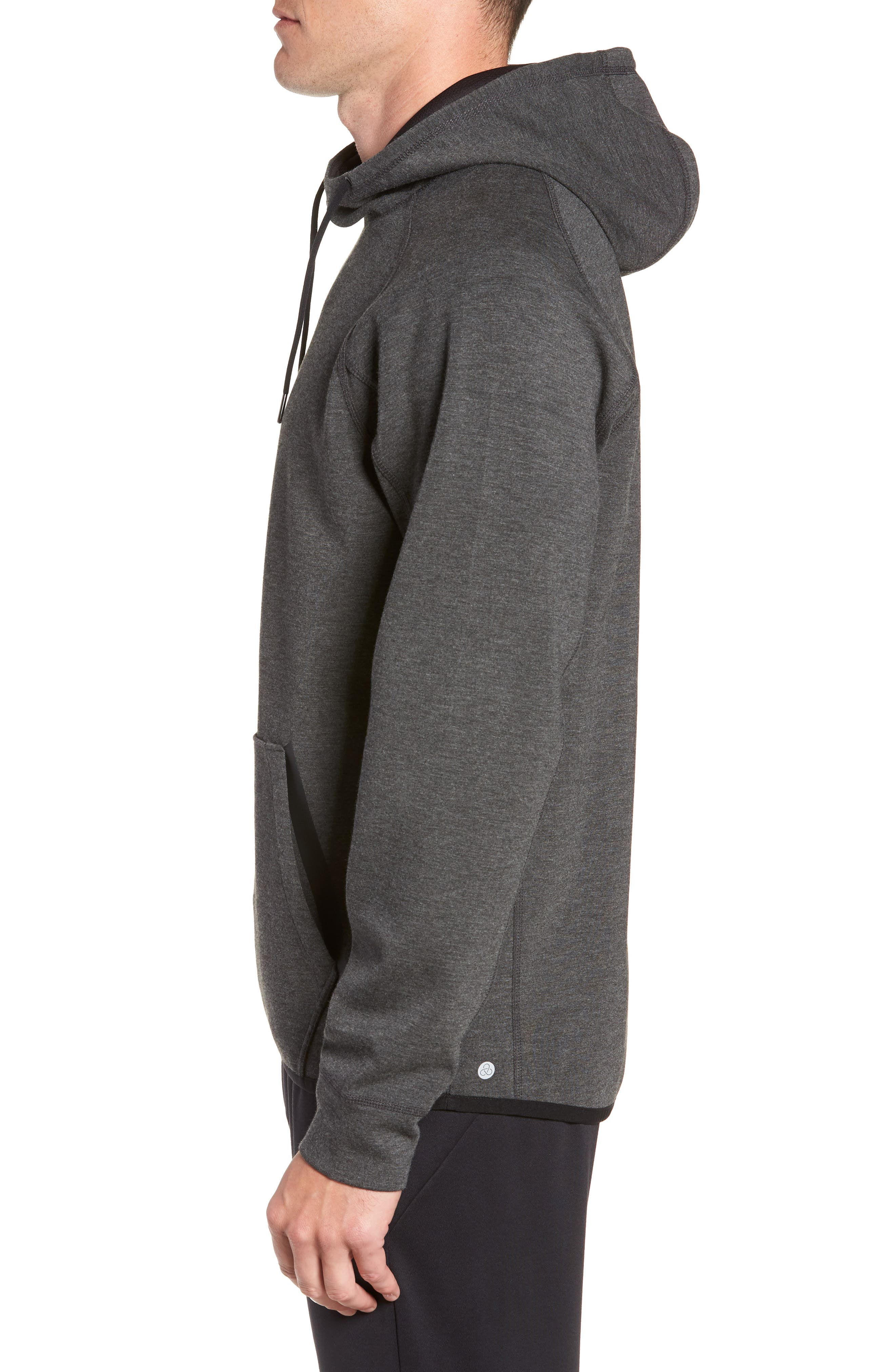 Active Pullover Hoodie,                             Alternate thumbnail 3, color,                             BLACK OXIDE HEATHER