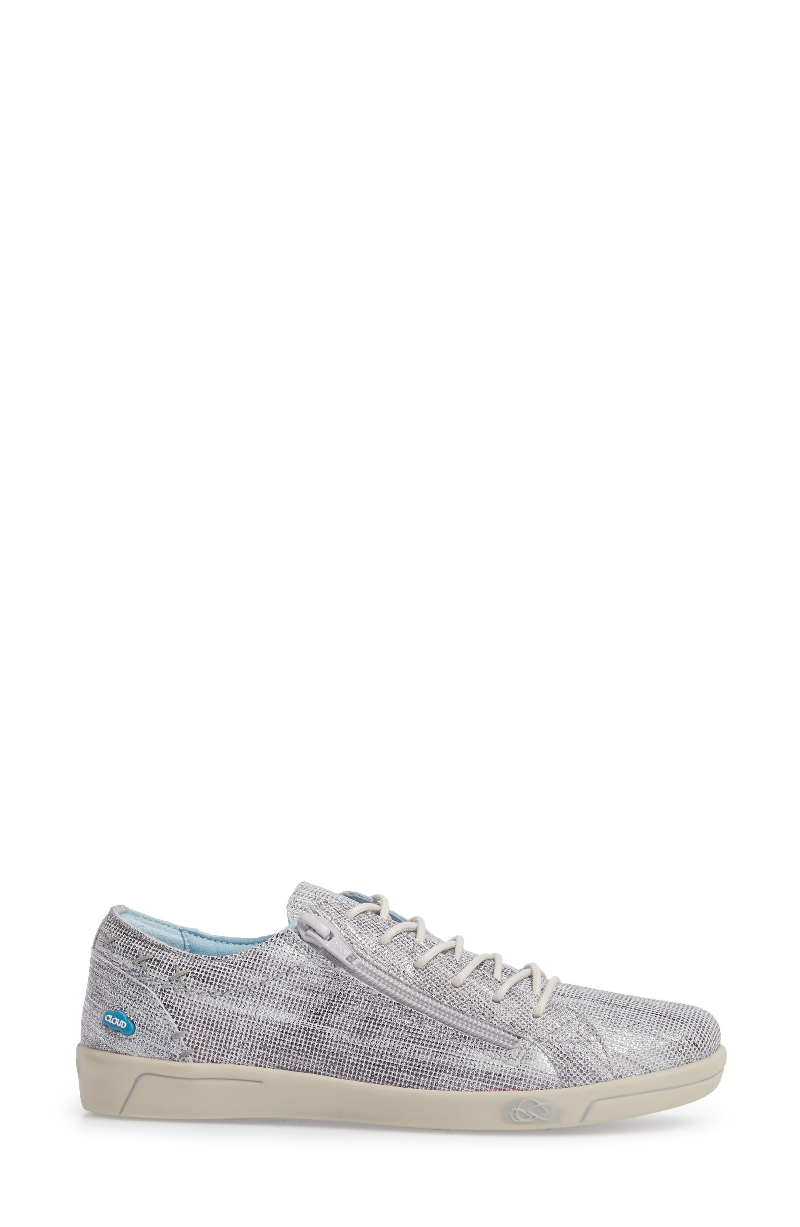Aika Dunkan Sneaker,                             Alternate thumbnail 3, color,                             GREY LEATHER