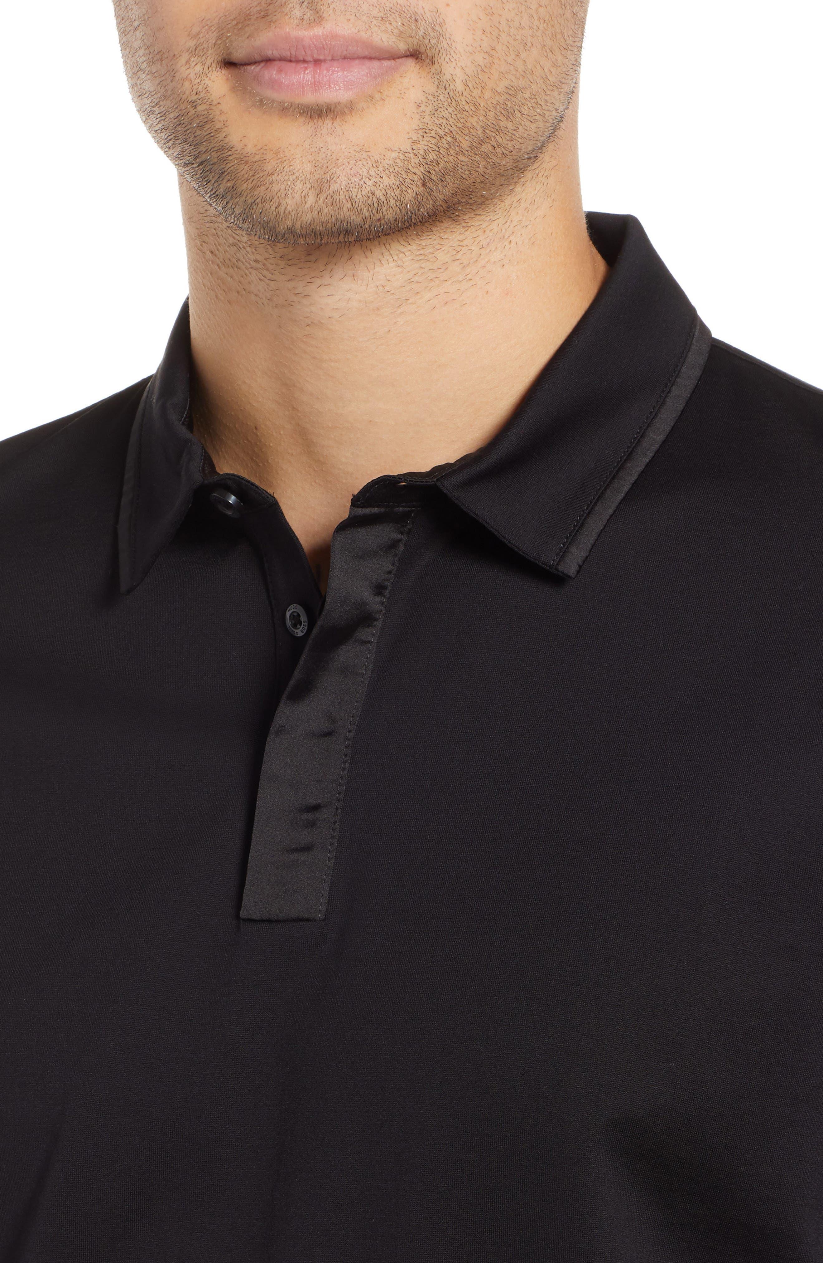 Dalendar Mercerized Cotton Slim Fit Polo Shirt,                             Alternate thumbnail 4, color,                             BLACK