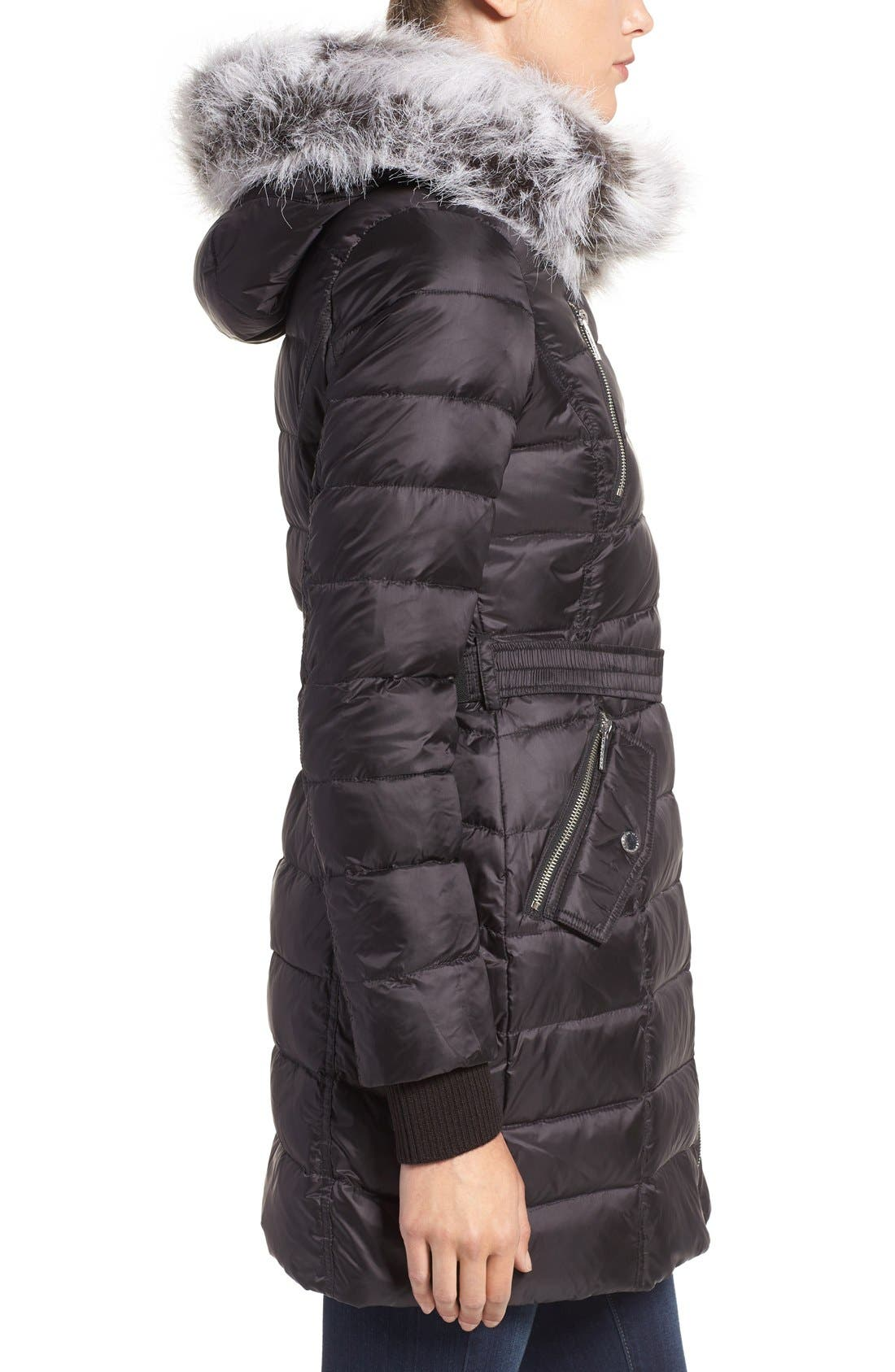 Quilted Coat with Faux Fur Trim Hood,                             Alternate thumbnail 3, color,                             001