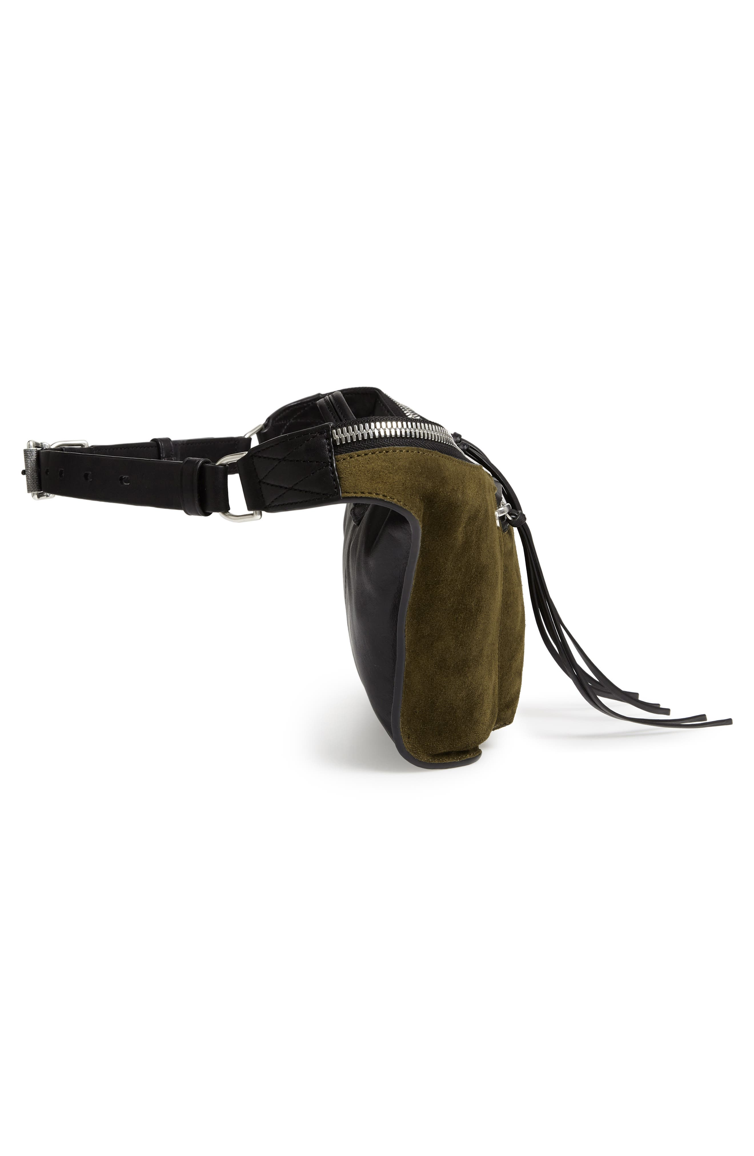 Large Elliot Genuine Calf Hair Fanny Pack,                             Alternate thumbnail 6, color,                             OLIVE SUEDE