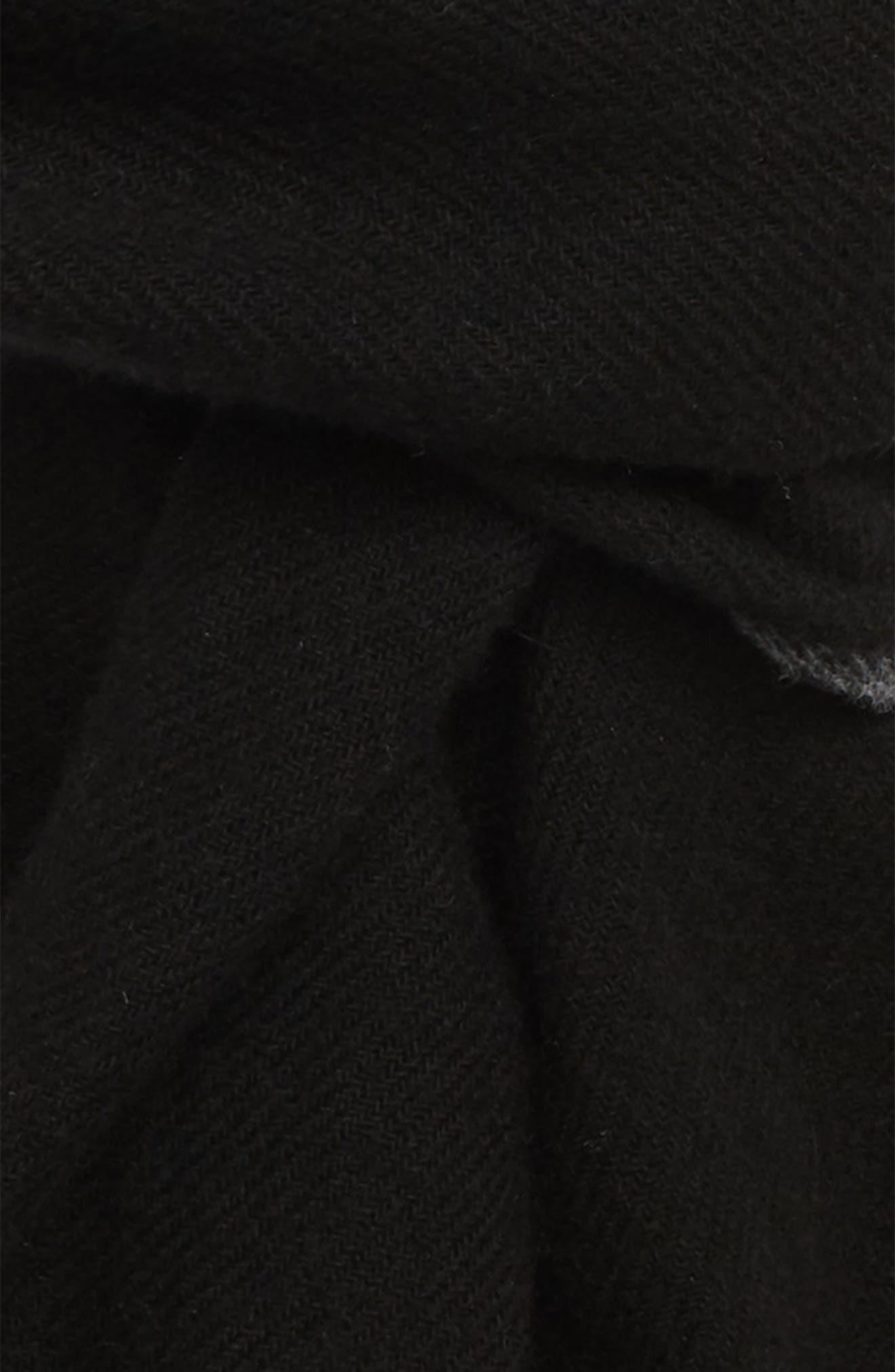 Cashmere Scarf,                             Alternate thumbnail 3, color,                             BLACK/ GREY