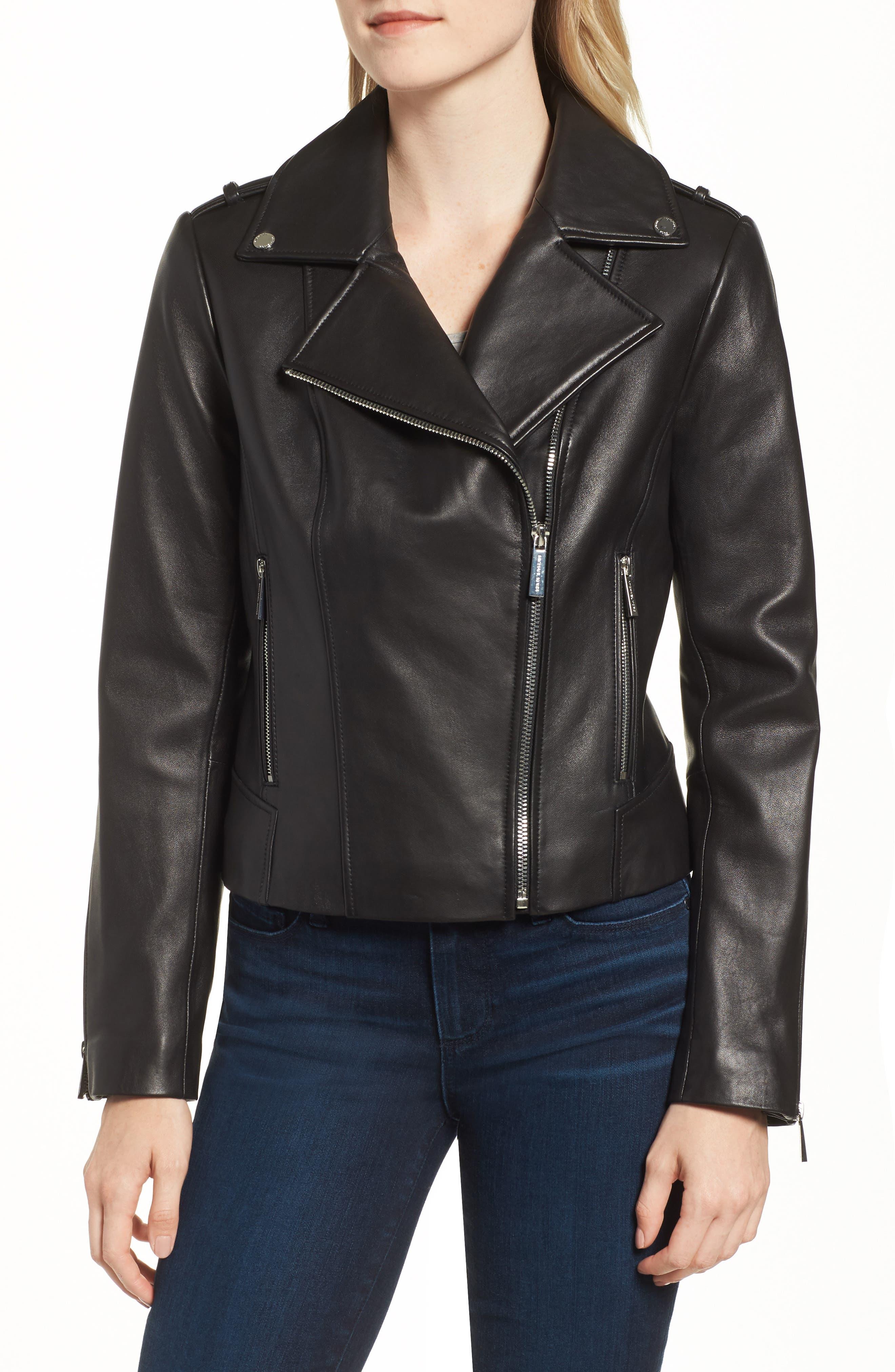 Classic Leather Moto Jacket,                             Alternate thumbnail 8, color,