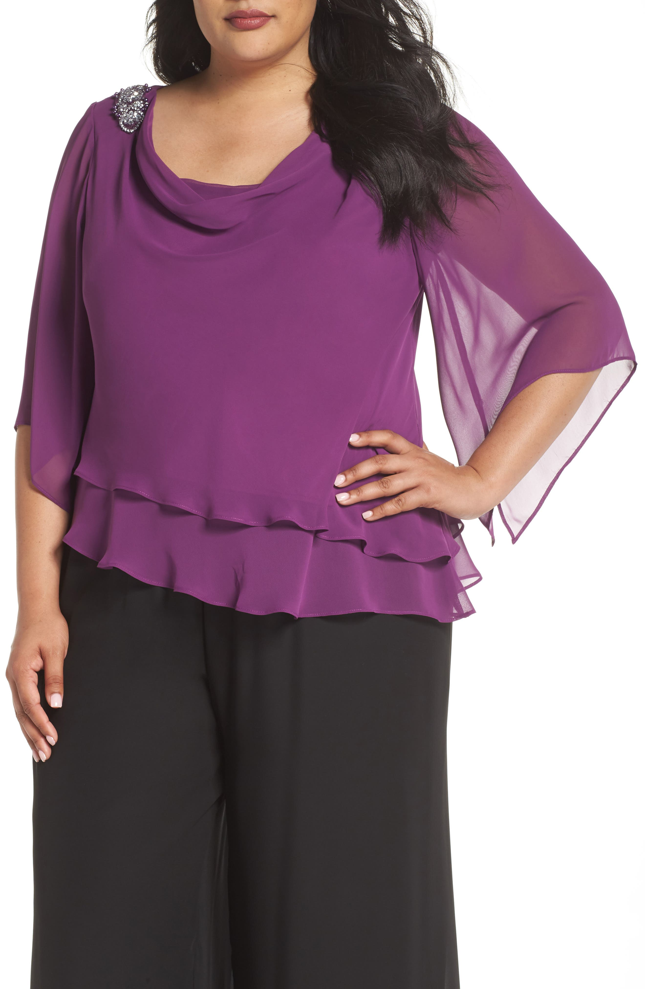Embellished Tiered Chiffon Top,                             Main thumbnail 1, color,                             VINTAGE PLUM