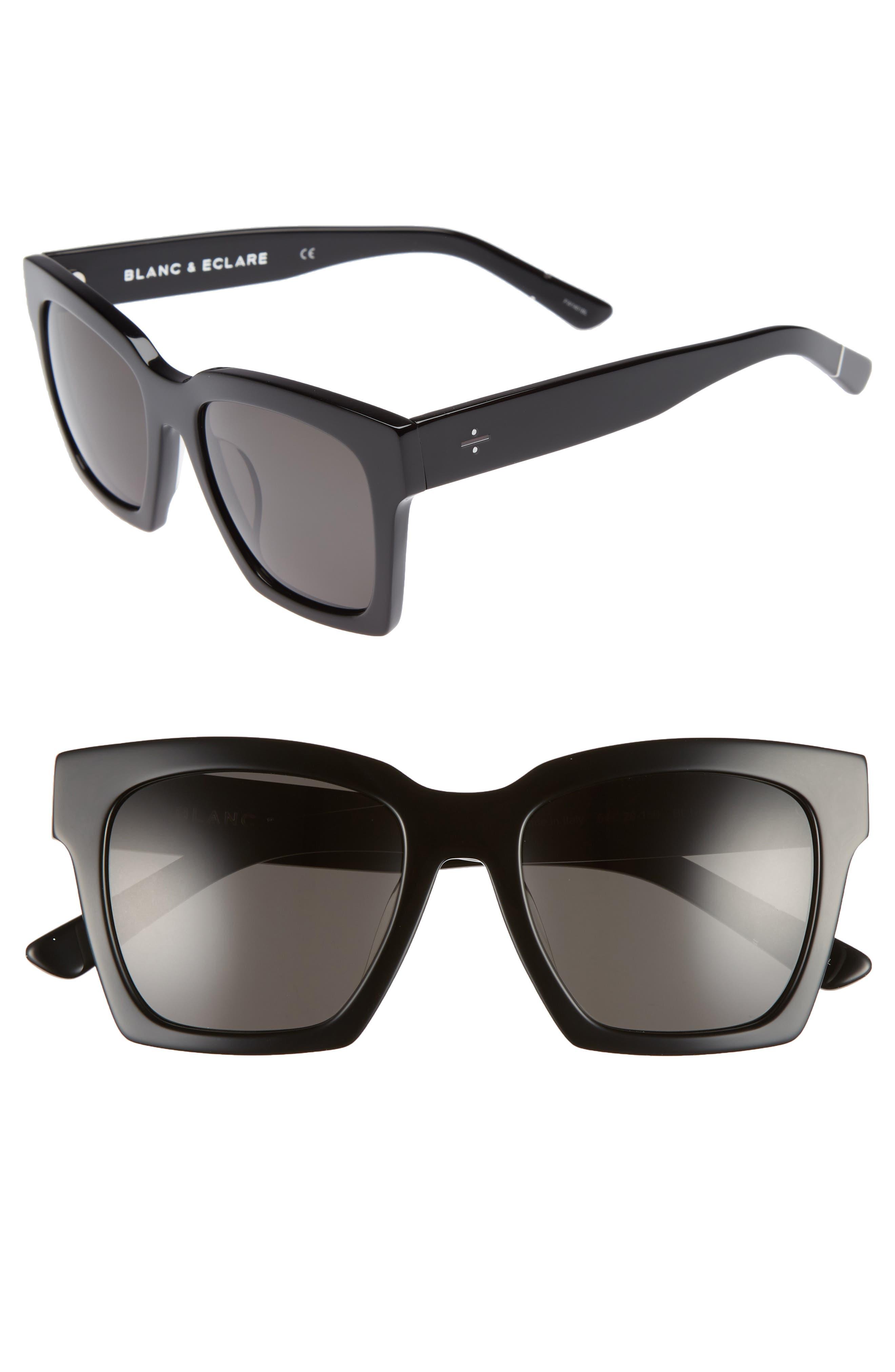 BLANC & ECLARE New York 54mm Polarized Sunglasses,                             Main thumbnail 1, color,                             BLACK