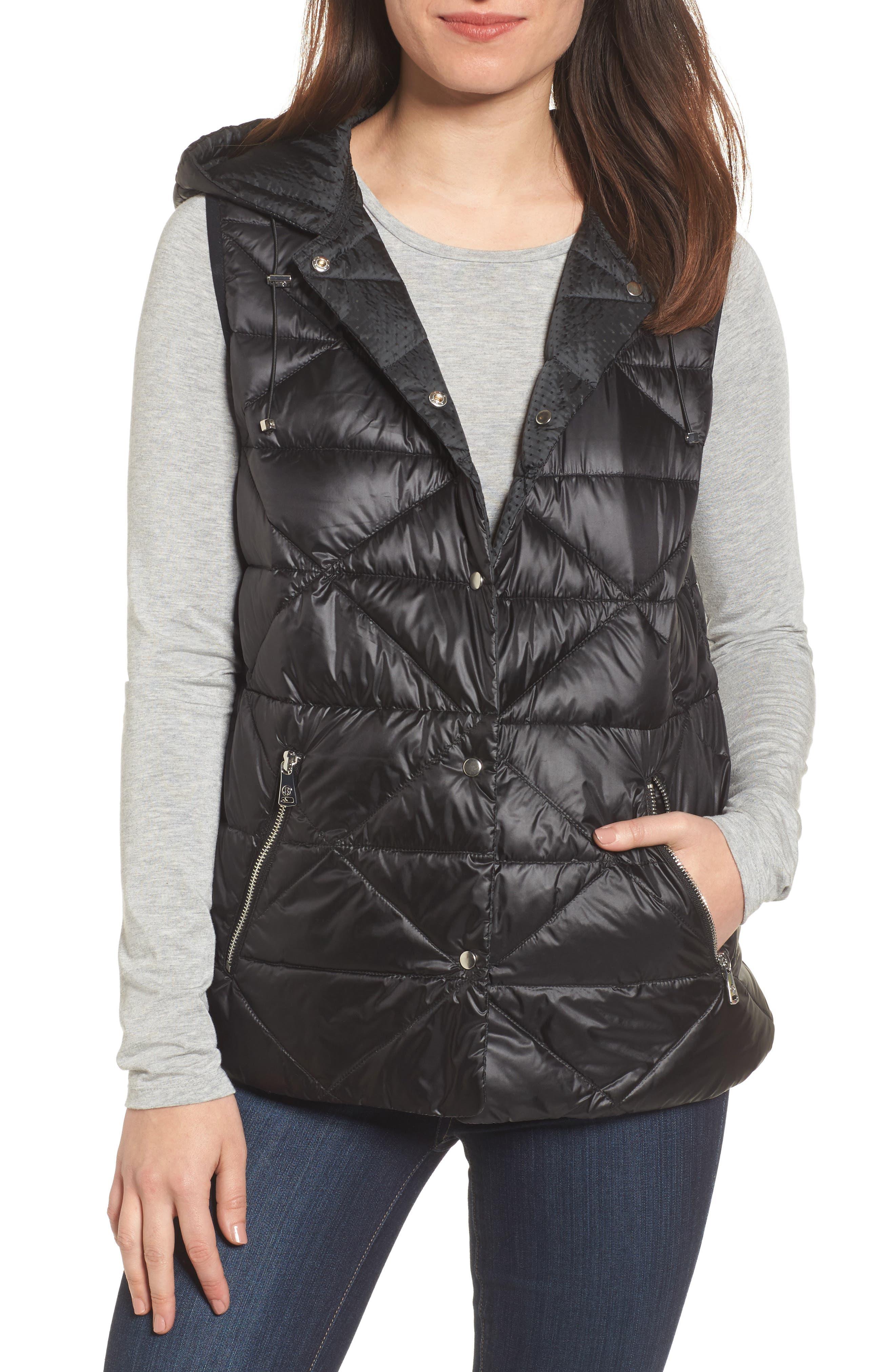 Reversible Hooded Down & PrimaLoft<sup>®</sup> Vest,                         Main,                         color,