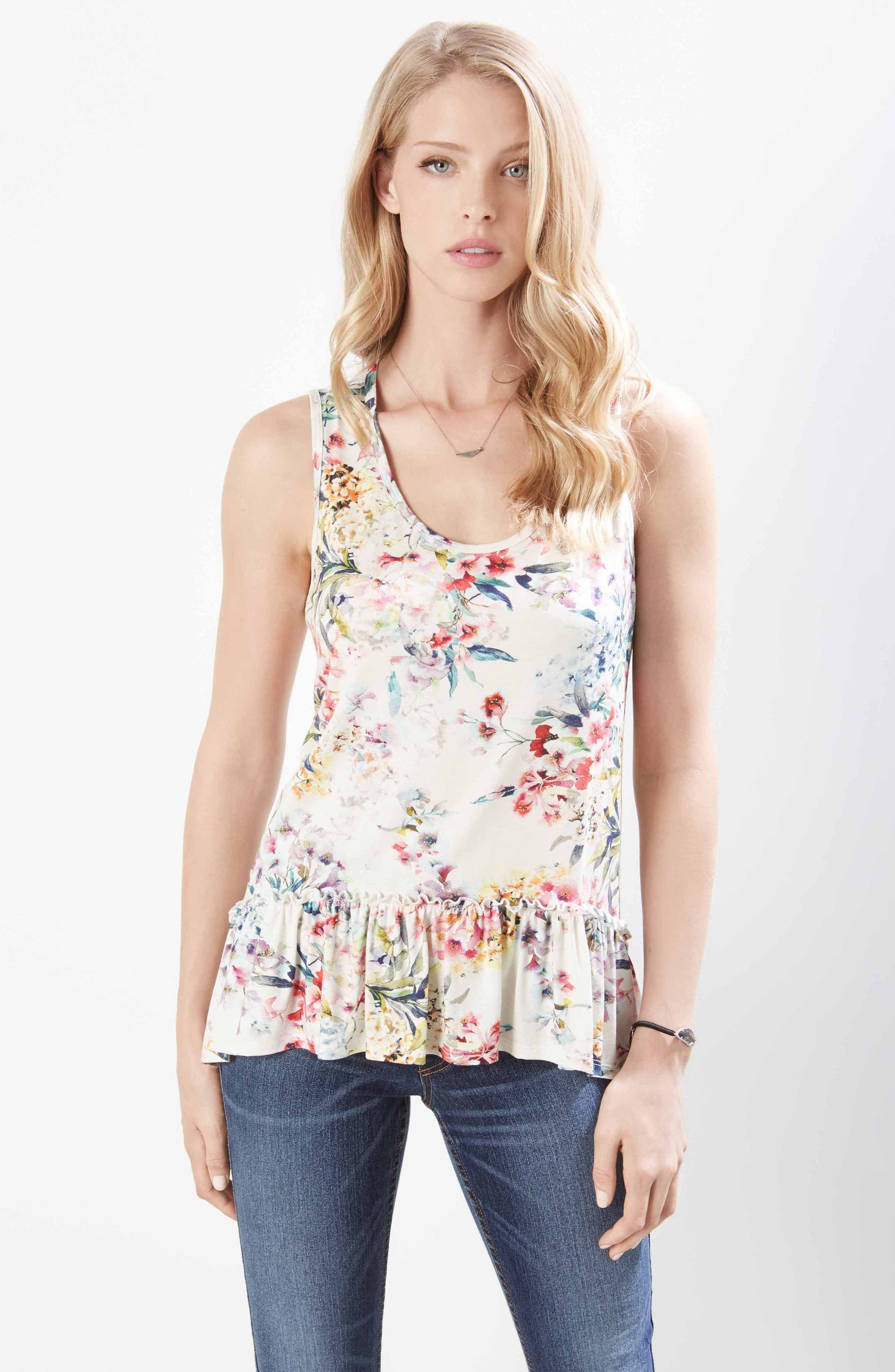Floral Ruffle Hem Tank Top,                             Alternate thumbnail 3, color,                             PRINT