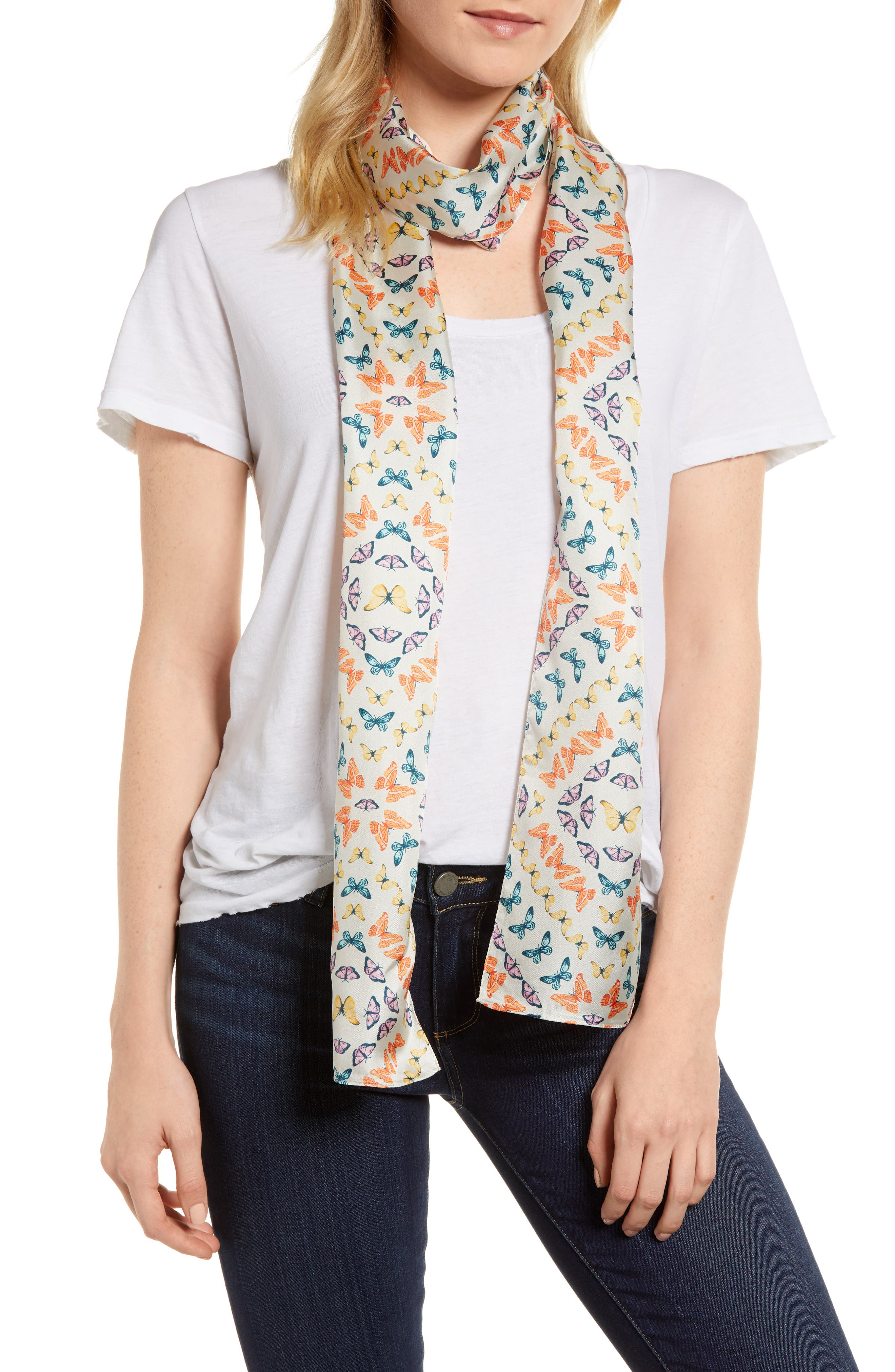 Ditzy Butterfly Silk Scarf,                         Main,                         color, 100