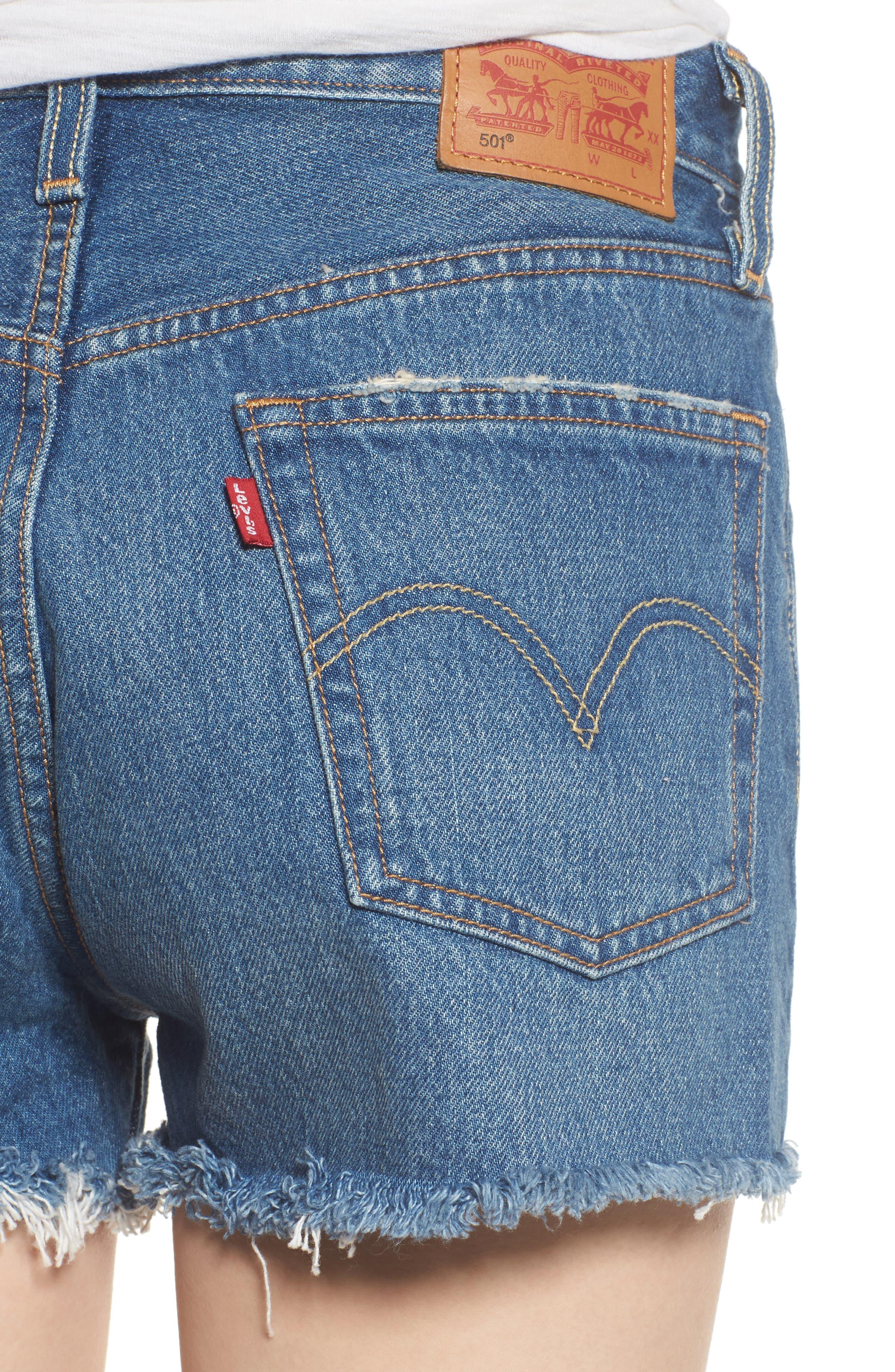 501<sup>®</sup> High Waist Cutoff Denim Shorts,                             Alternate thumbnail 4, color,                             401