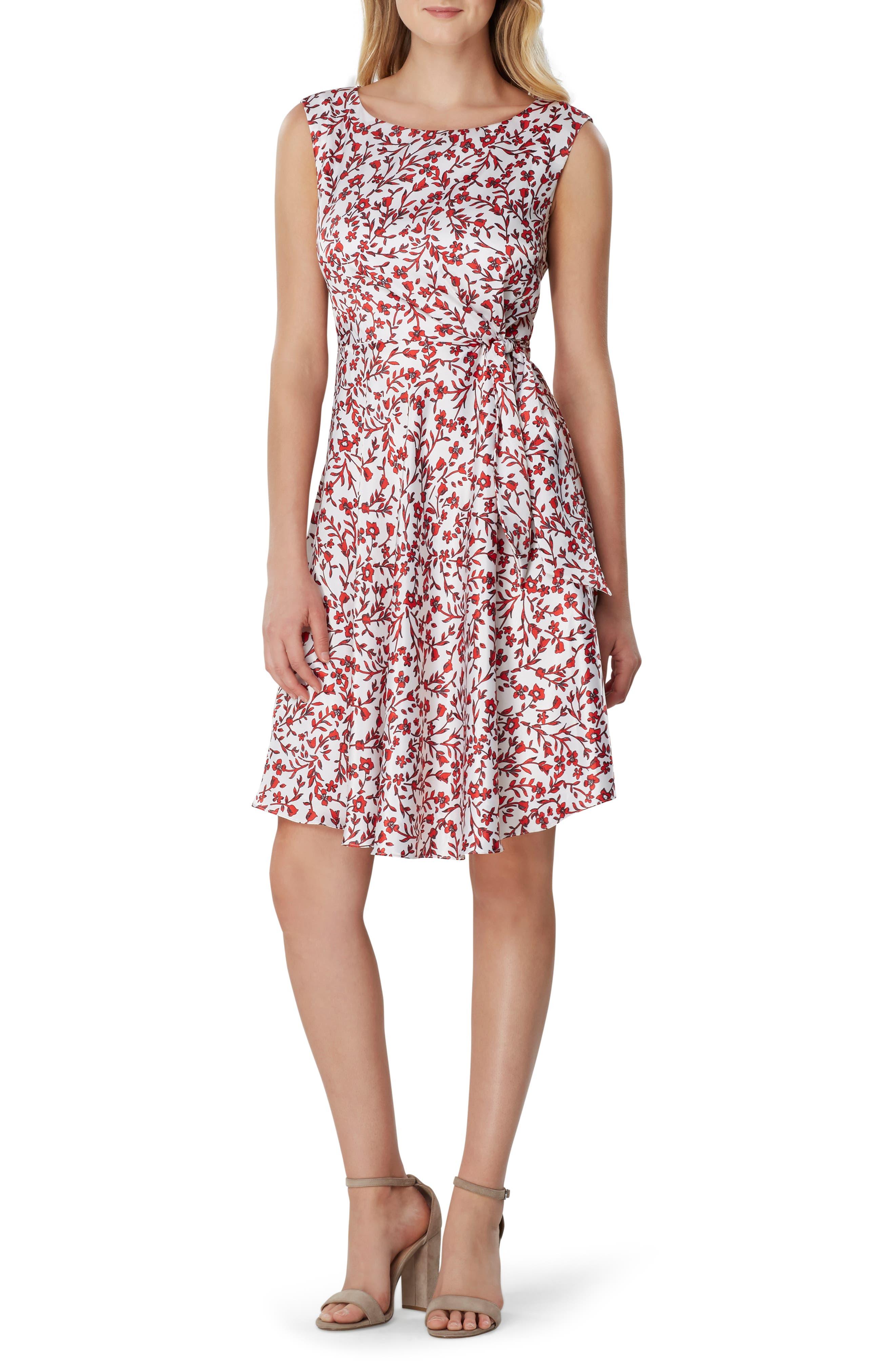Tahari Floral Print Fit & Flare Dress, Ivory