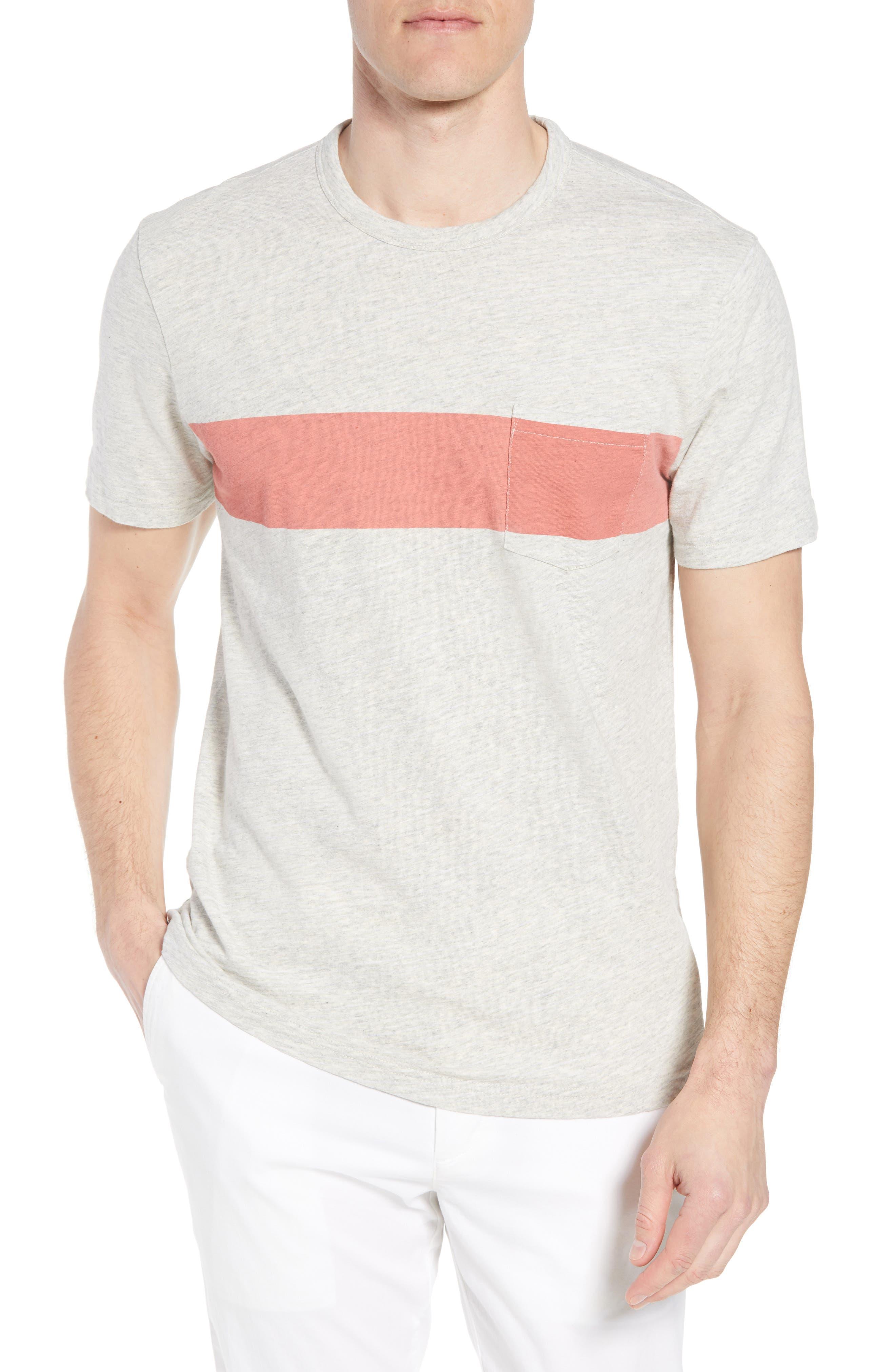 Chest Stripe Pocket T-Shirt,                             Main thumbnail 1, color,                             HEATHER GREY STRIPE