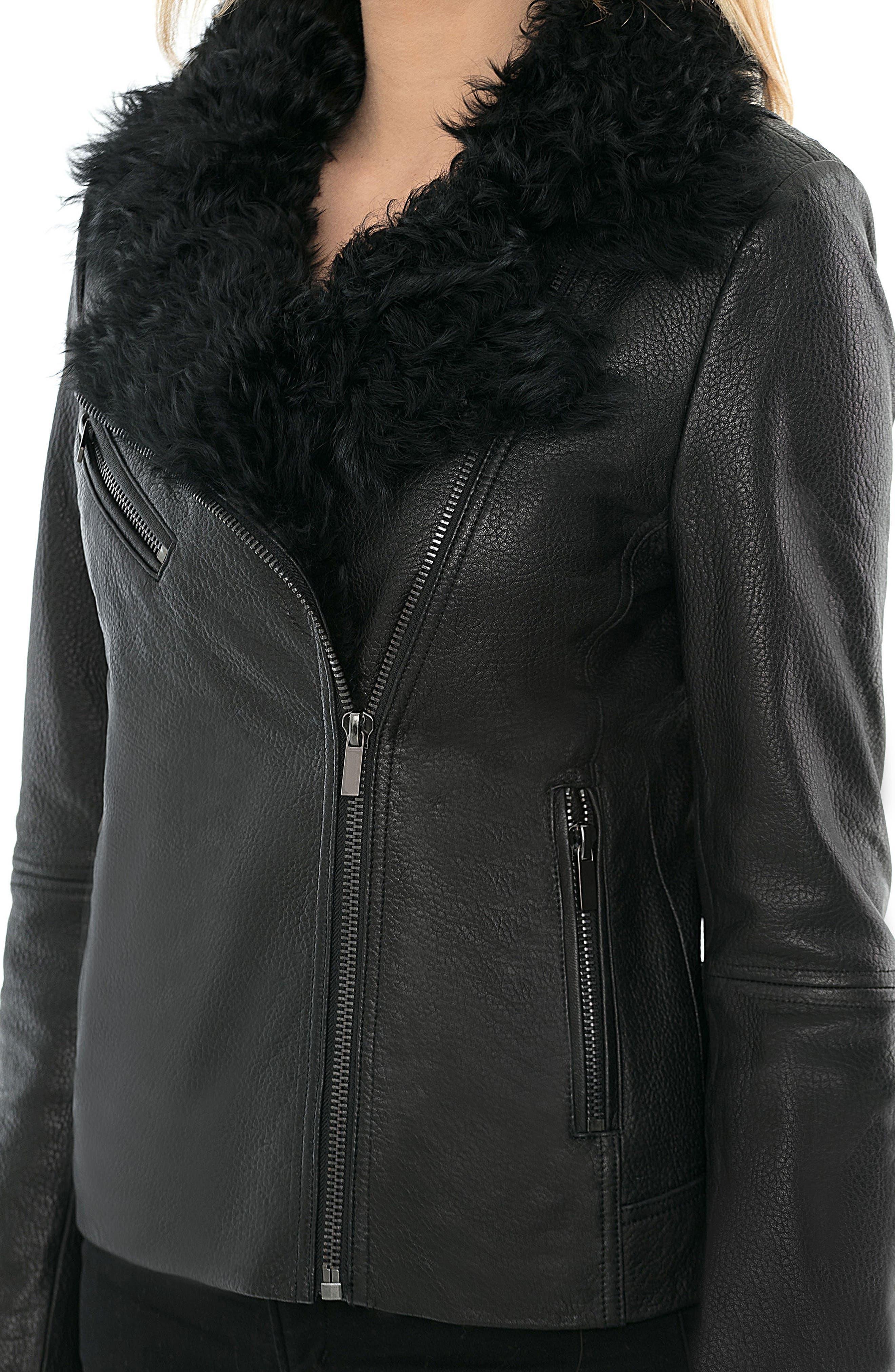Marianne Genuine Shearling Collar Moto Jacket,                             Alternate thumbnail 4, color,                             001